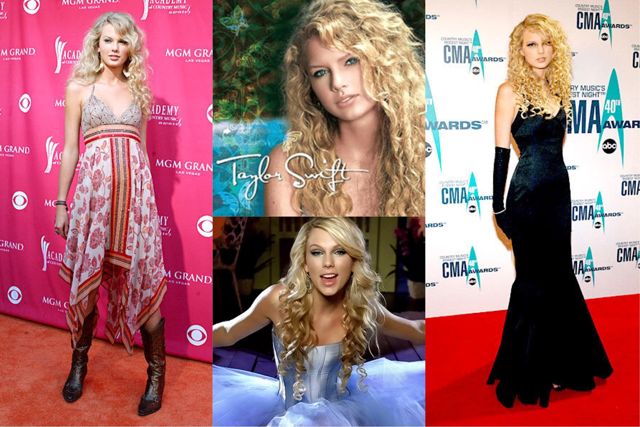 """Taylor Swift at the 2006 Annual Academy of Country Music Awards,  Taylor Swift  (2006) album cover, """"Our Song"""" music video (2006), & 2006 Country Music Awards  (Photo:  Getty Images, People, Playbuzz )"""