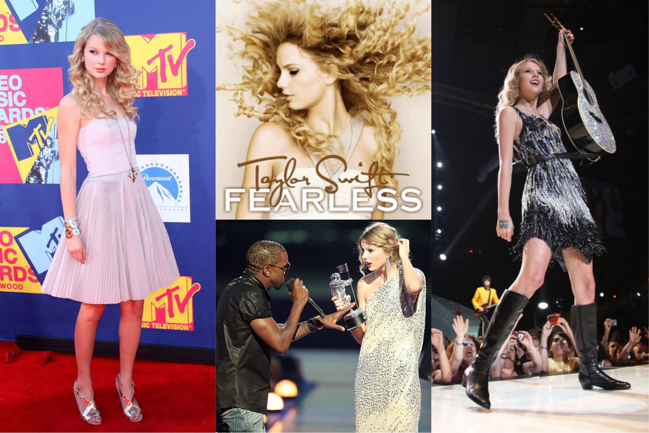 Taylor Swift at the 2008 MTV Video Music Awards,  Fearless  (2008) album cover,2009 MTV Video Music Awards in KaufmanFranco, & 2009 Fearless Tour concert in New York City   (Photo: Frederick M. Brown/Getty Images, Taylor Swift Wiki, Christopher Polk/Getty Images, Jason Kempkin/Getty Images )