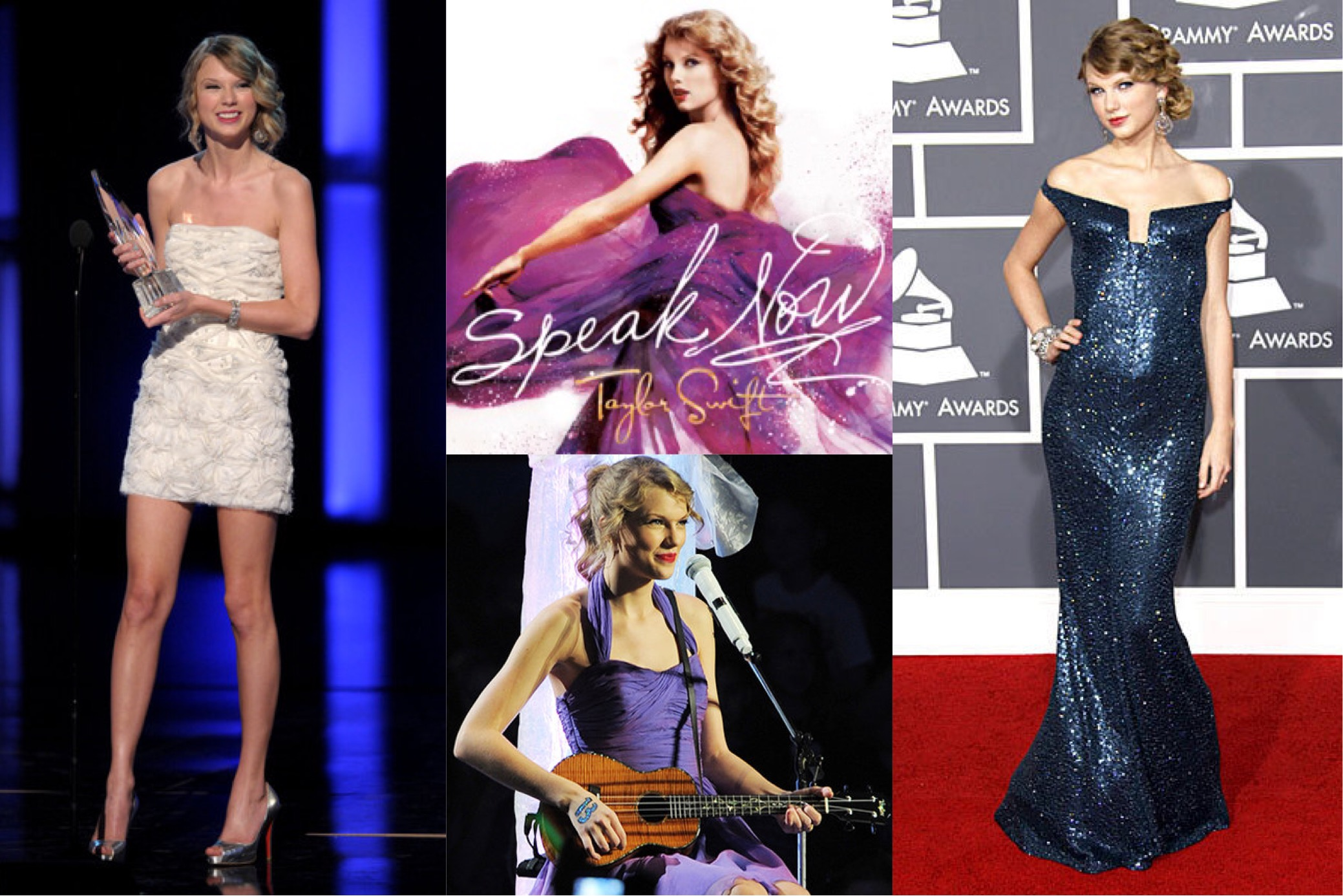 Taylor Swift at the 2010 People's Choice Awards,  Speak Now  (2010) album cover, 2011 Speak Now World Tour concert in New York City, the 2010 Grammy Awards in KaufmanFranco   (Photo: Kevin Winter/Getty Images, Taylor Swift Wiki, Larry Busacca/Getty Images, Getty Images )
