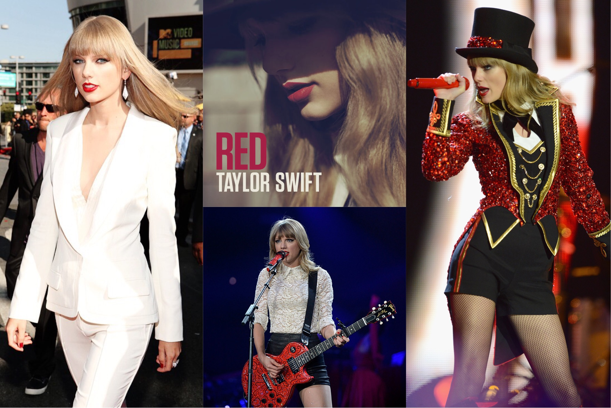 Taylor Swift at the 2012 MTV Video Music Awards in J. Mendel,  Red  (2012) album cover, 2013 Red Tour concert in Denver, performing on the Red Tour 2013-2014   (Photo: Tumblr, iTunes, John Leyba/The Denver Post, Dave J. Hogan/Getty Images )