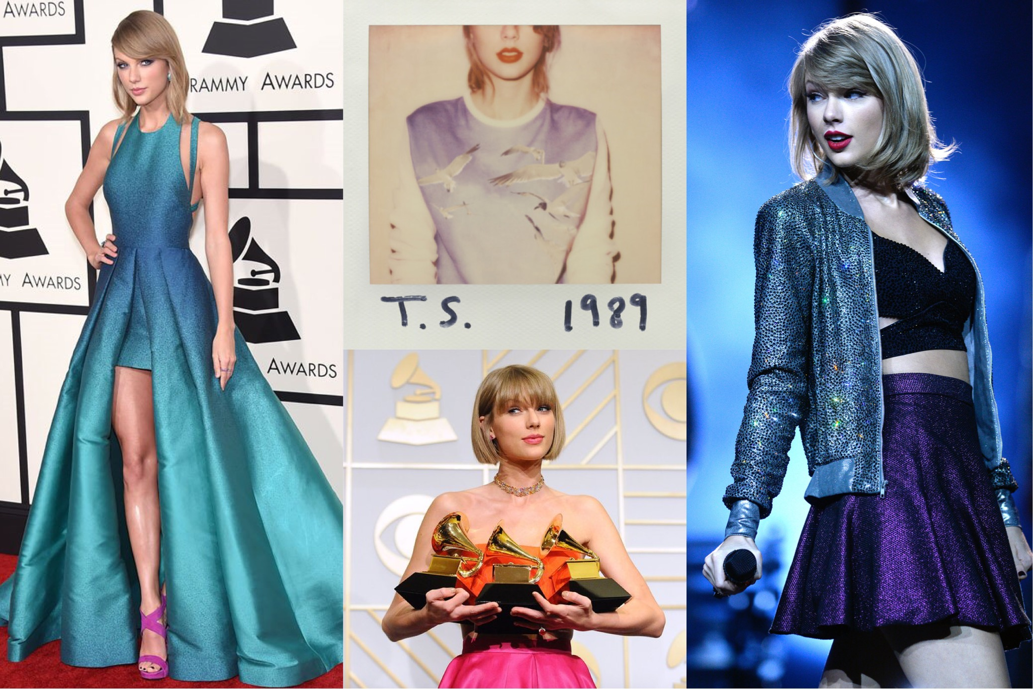 Taylor Swift at the 2015 Grammy Awards in Elie Saab,  1989  (2014) album cover, at the 2016 Grammy Awards in Atelier Versace, 2015 1989 World Tour performance in Cologne, Germany   (Photo: INF Photo.com, Vulture, Jason LaVeris/Getty Images. Sascha Steinbach/Getty Images for TAS )