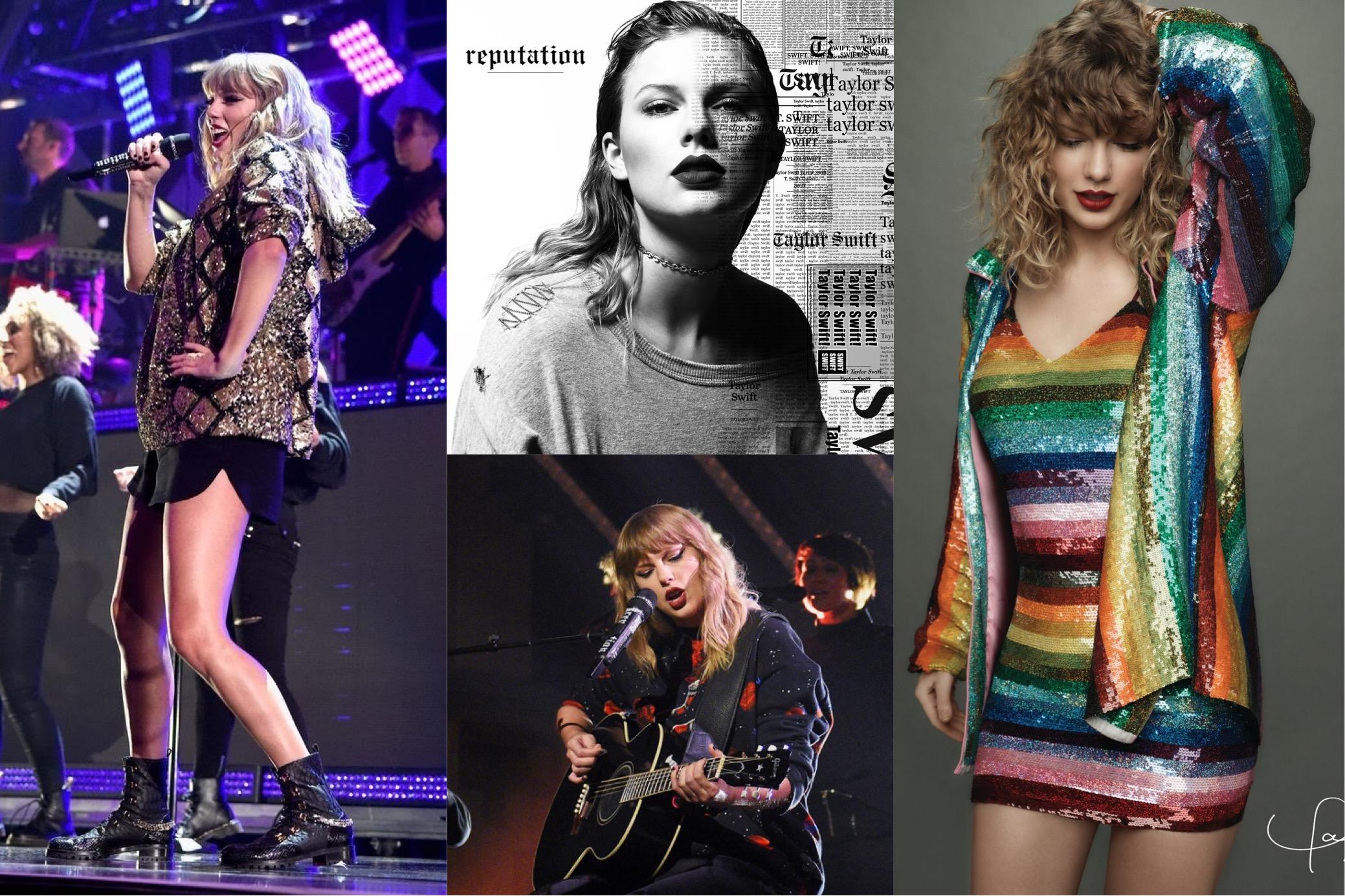 "Taylor Swift at the 2017 KIIS-FM Jingle Ball,  reputation  (2017) album cover, on  Saturday Night Live  season 43, episode 5 ""Tiffany Haddish/Taylor Swift"" (2017), reputation (2017) Target exclusive Magazine Vol. 2   (Photo:  Getty Images, Billboard, Tumblr, Facebook.com/TaylorSwift )"