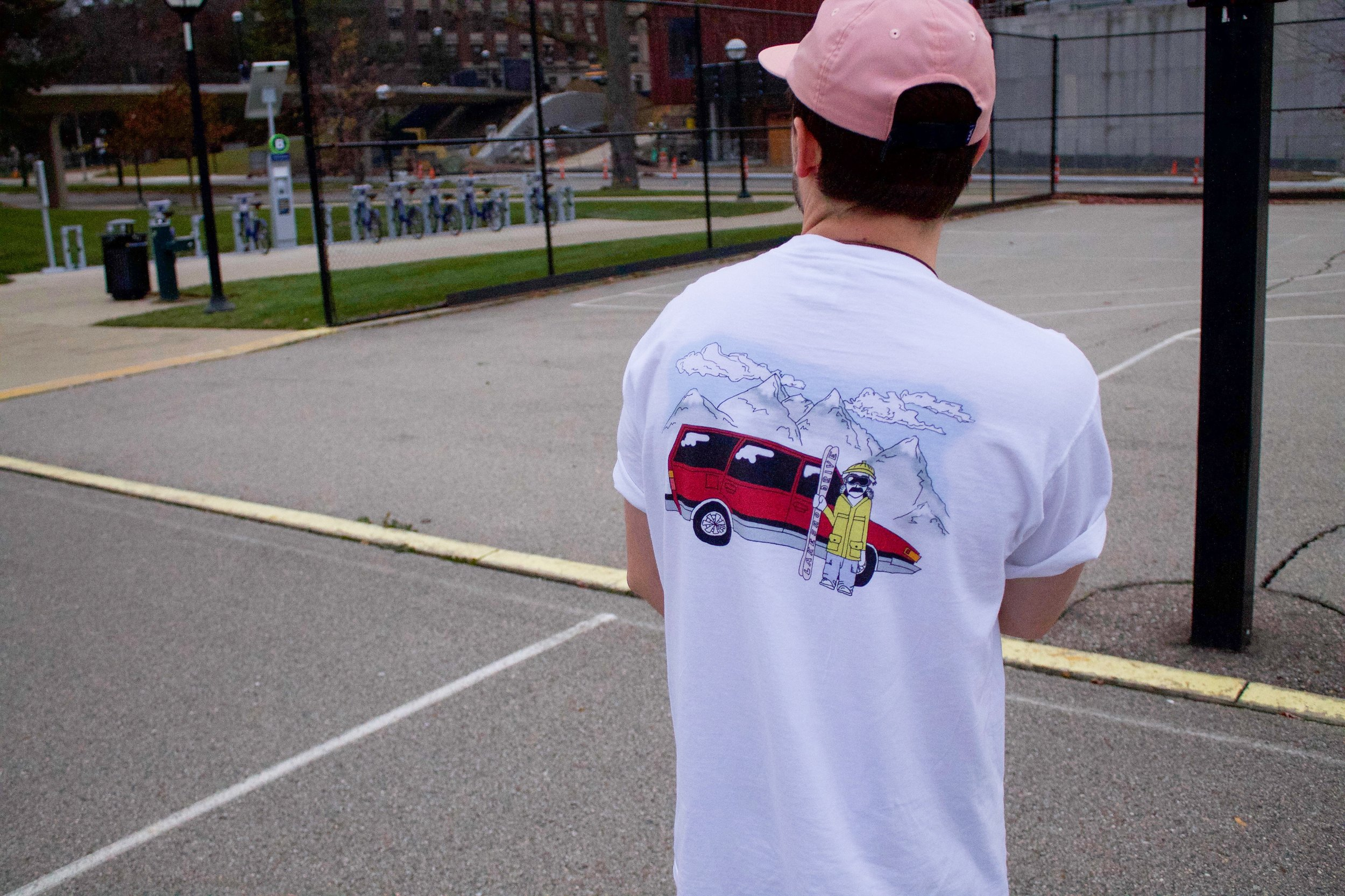 Cooper showing off Lakeshore Drive's Ski Edition T, from their Winter Collection.