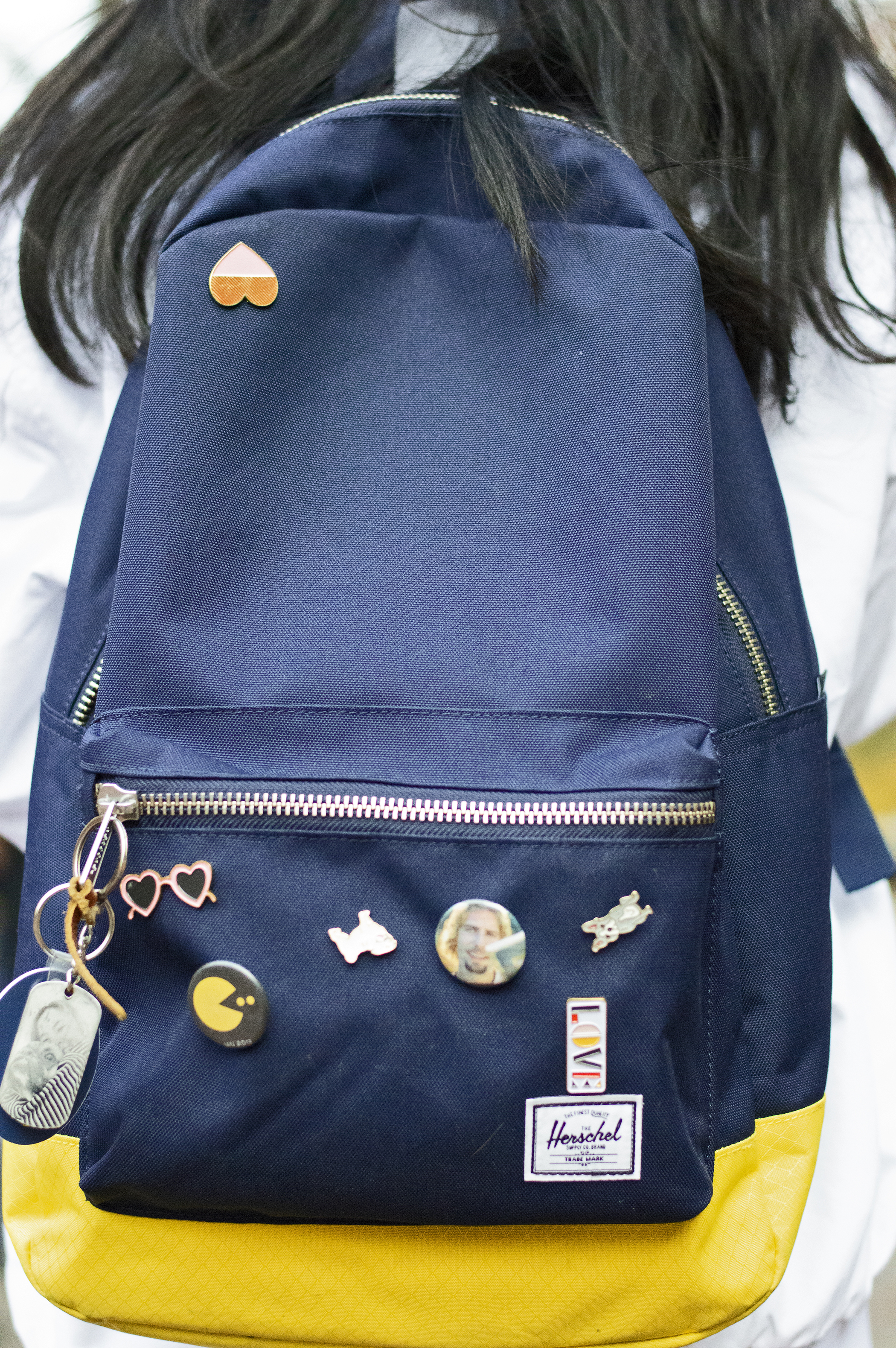 """""""The pins are gifts from random people in my life, like the dog pins are from one of my best friend's mother, because she doesn't have any daughters.""""  -Arwen, Freshman"""