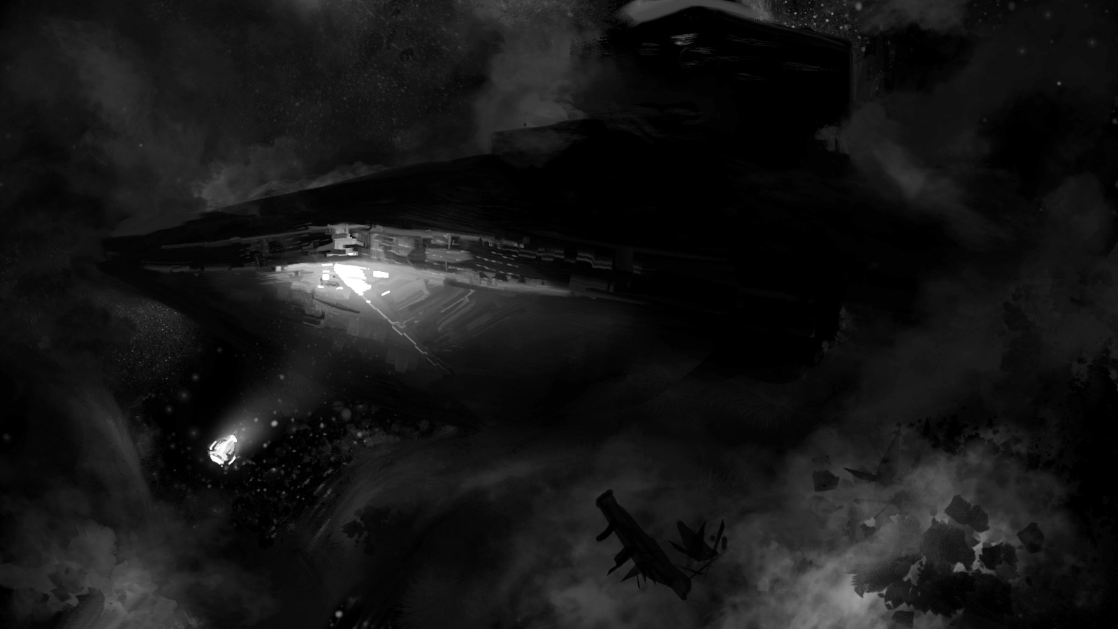 The discovery of The Inquisitor, a derelict Star Destroyer lost within a dark nebula. After clearing out one of the two warring Imperial factions they encountered inside, our crew set the ship up as a safe port for smugglers and rebels.