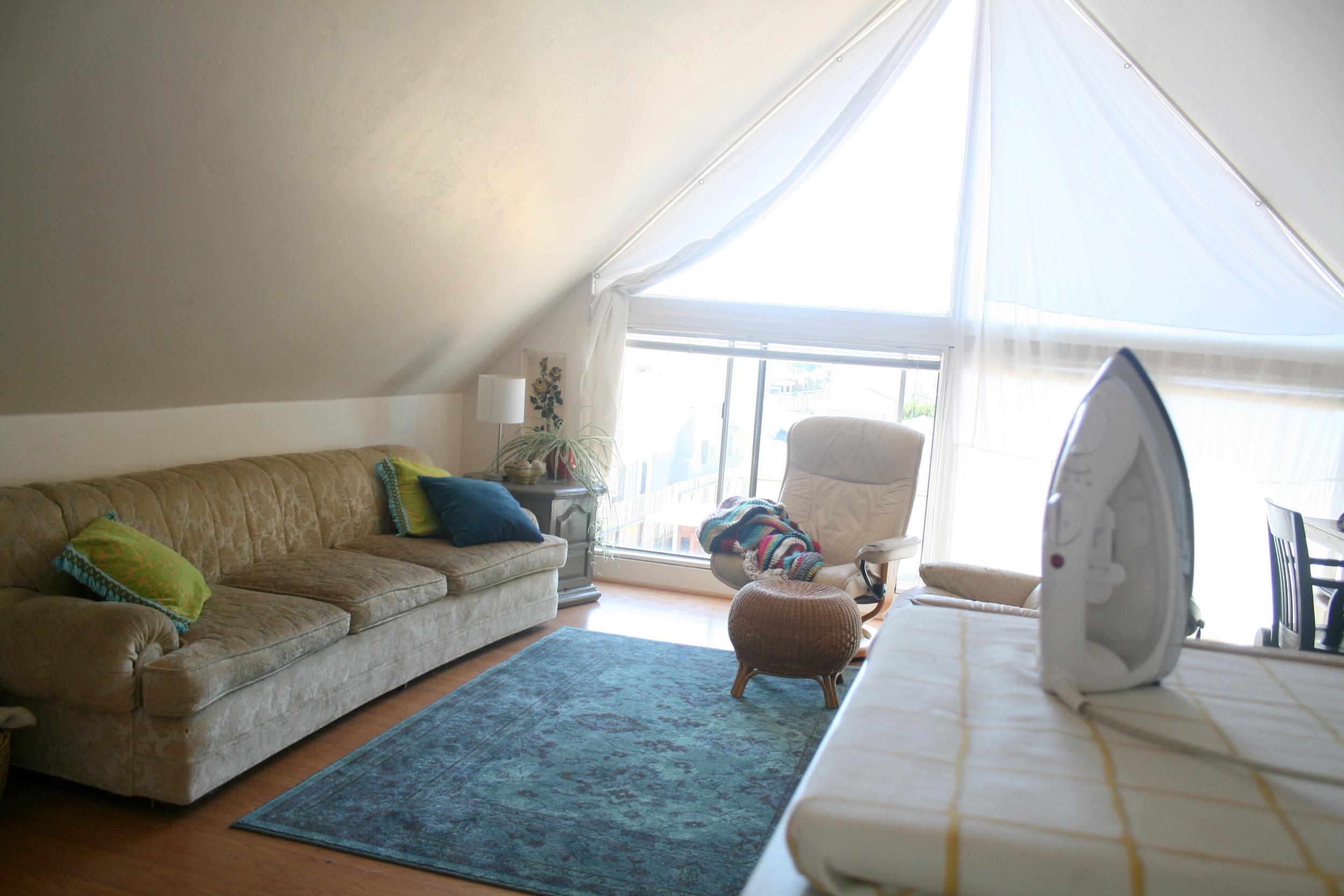 blue corduroy living room sewing studio
