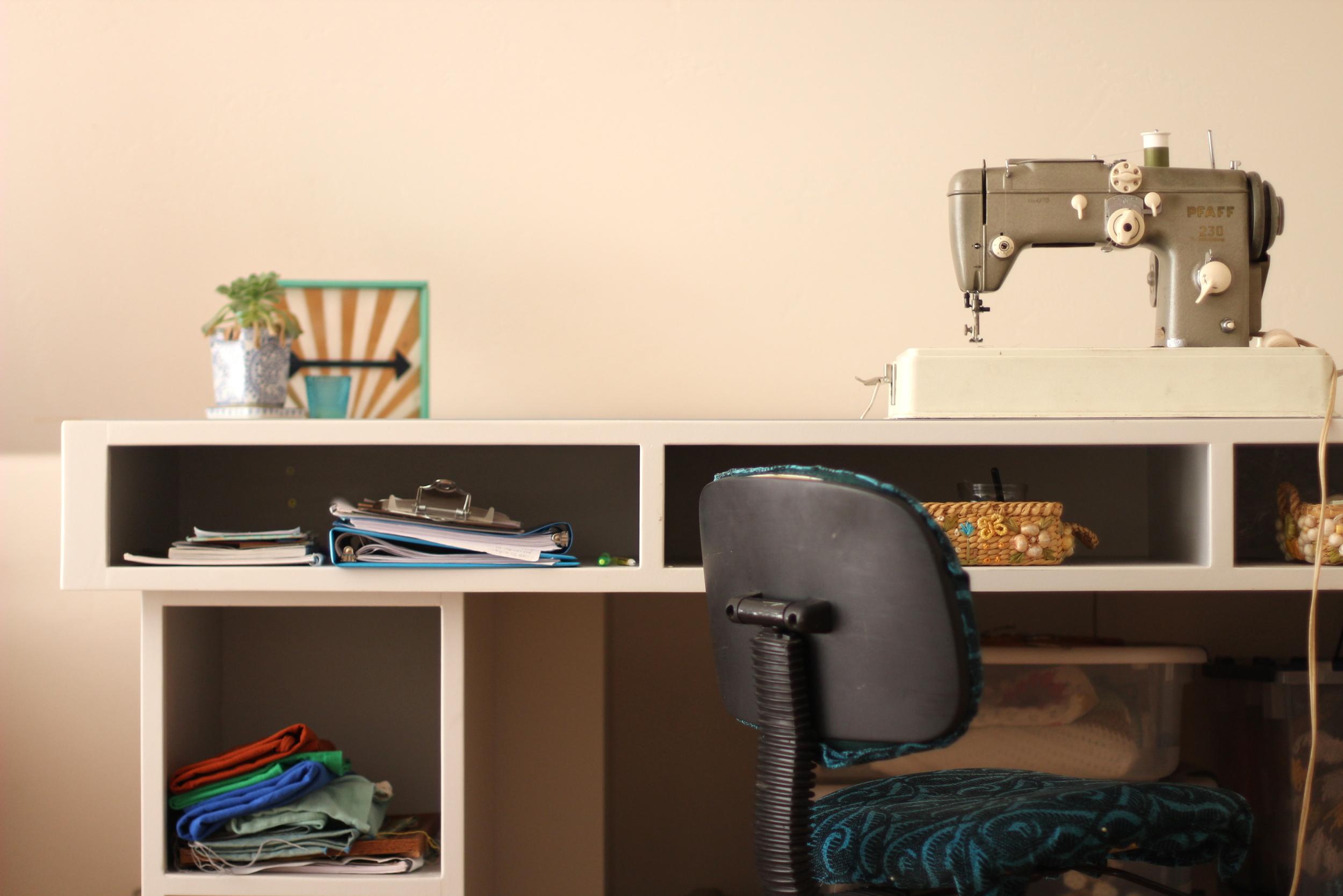 blue corduroy custom sewing desk