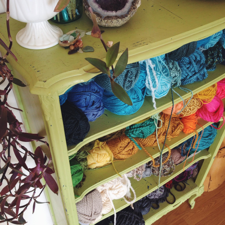 yarn shelves craft room