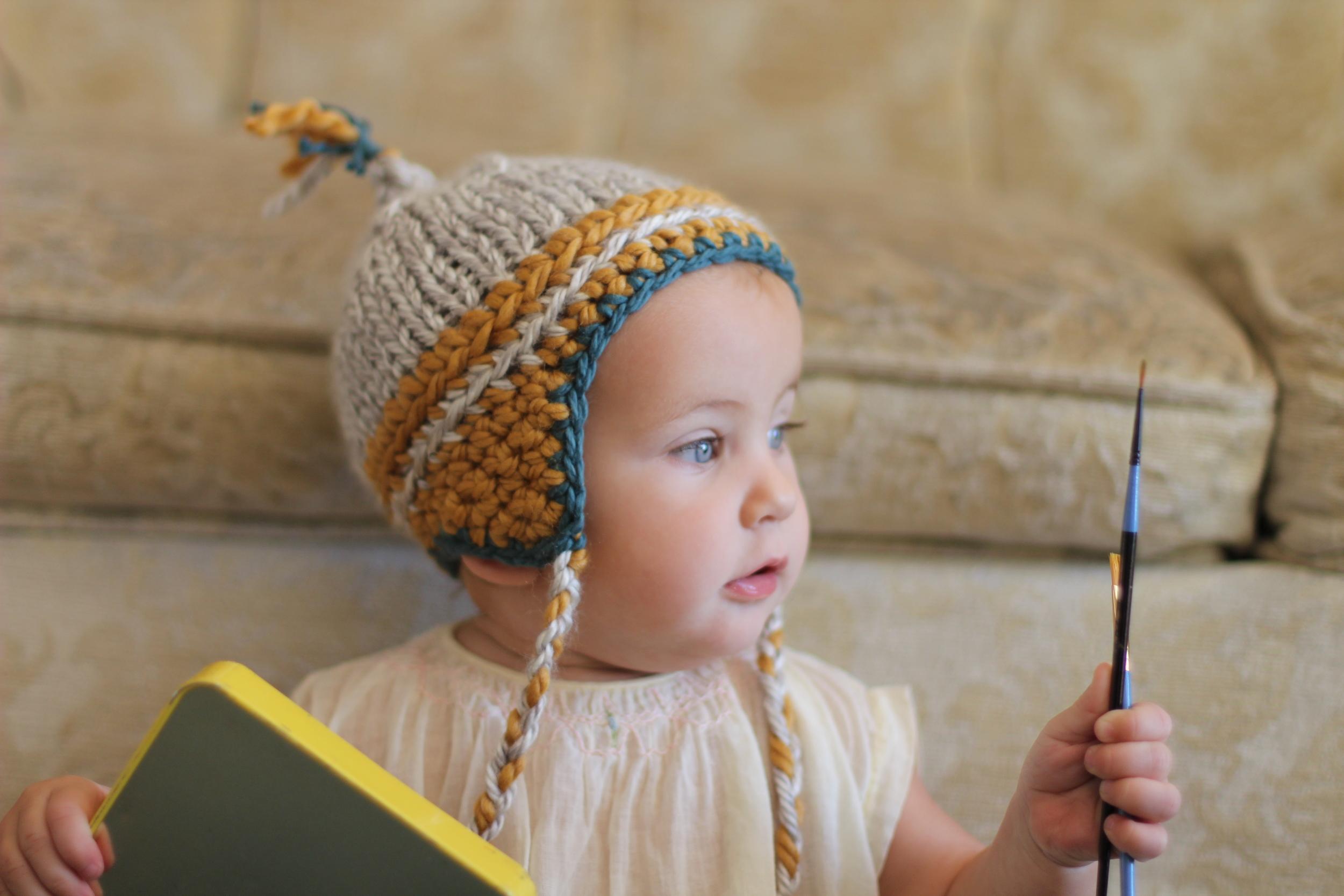 hand knit ear flap baby beanie