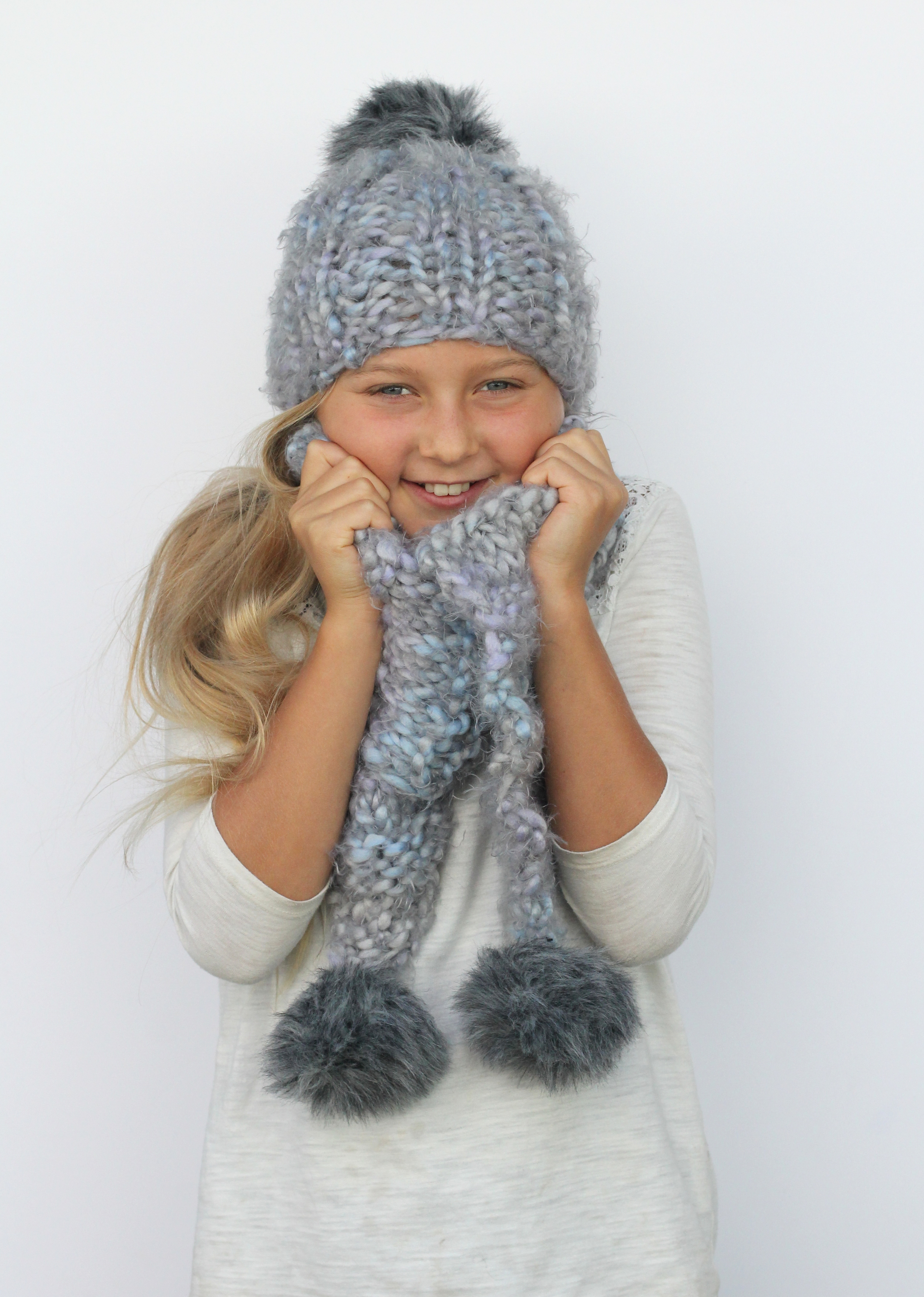 hand knit faux fur hat and scarf set by blue corduroy