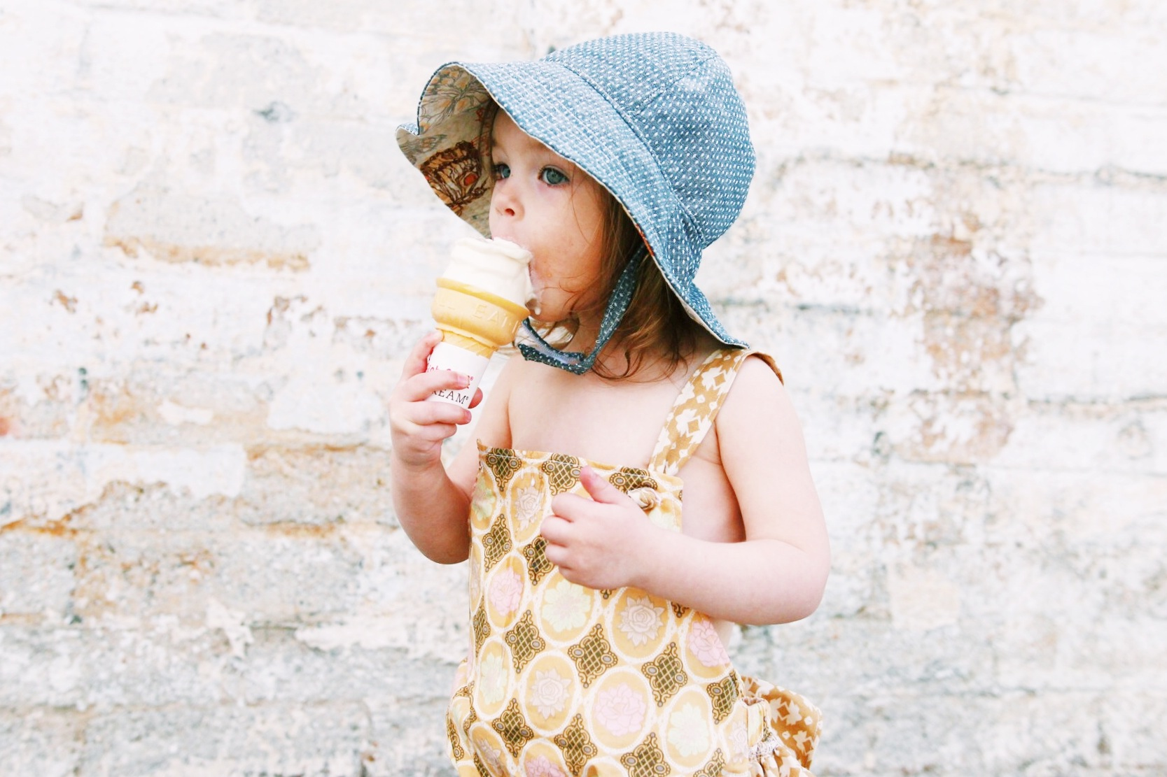 baby girl denim sun hat