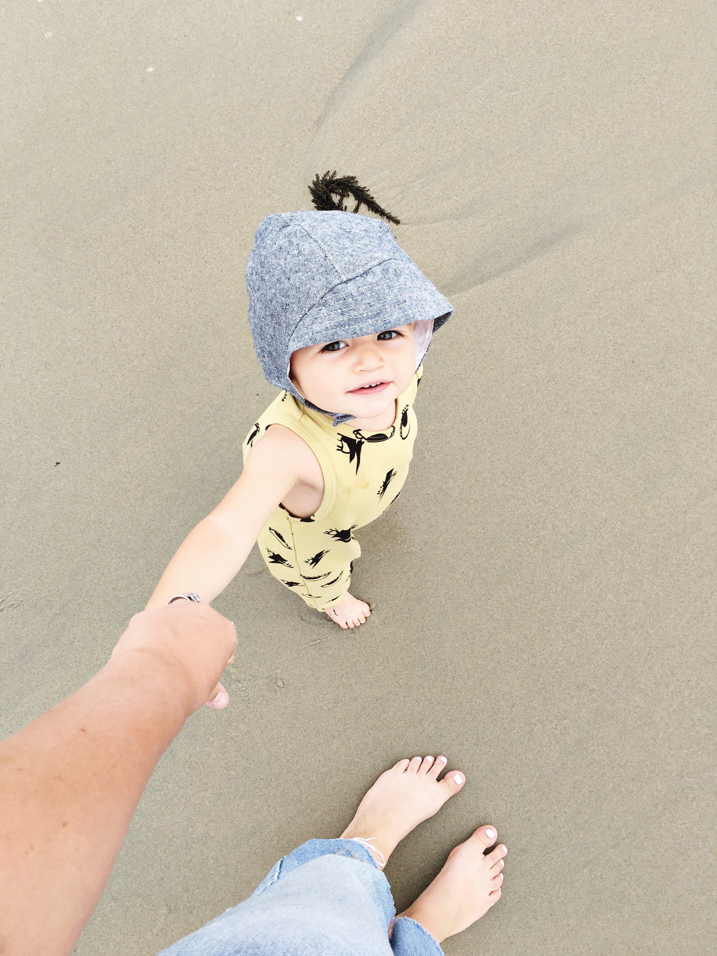 Baby boy sun bonnet  for beach walks with mom,via Blue Corduroy on Etsy. Photo by  Sarah Holstrom