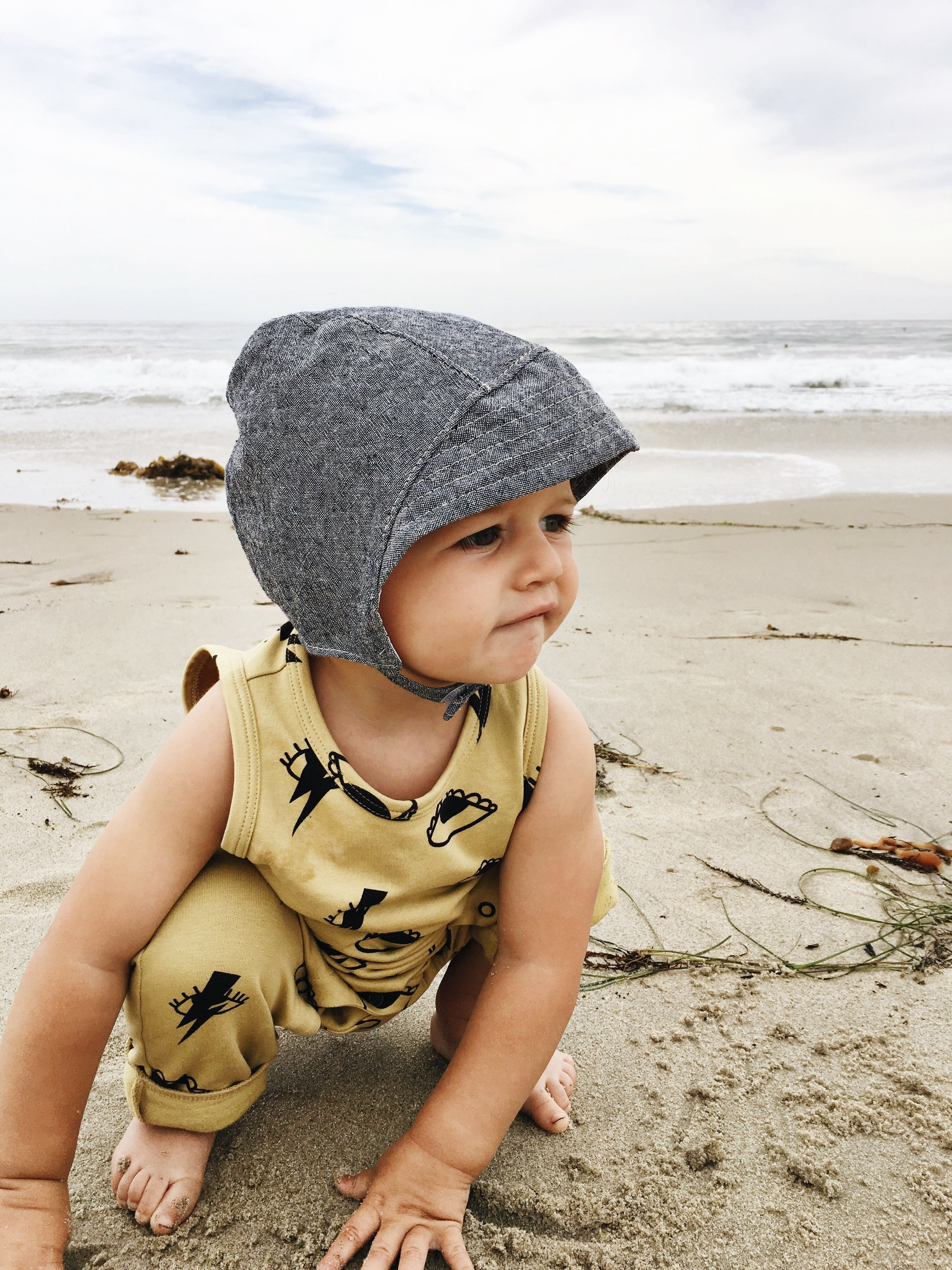 Beach Baby in denim sun bonnet  by Blue Corduroy on Etsy. Photo by  Sarah Holstrom.