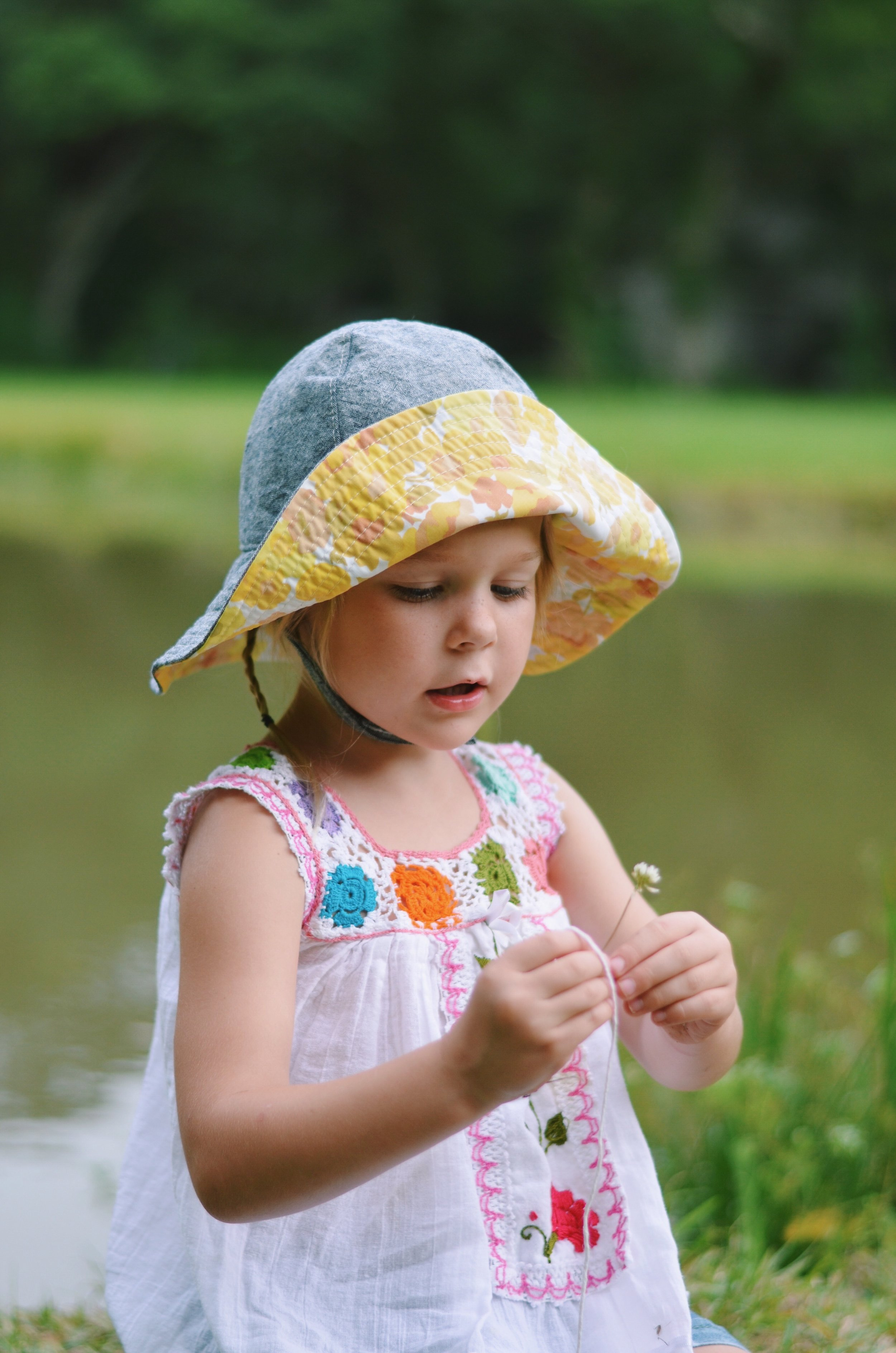 Blue Corduroy Sun Hats for Girls