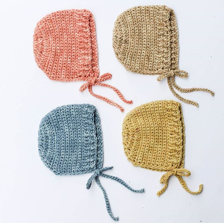 Crochet Baby Bonnet Kit with hand dyed baby alpaca yarn color options