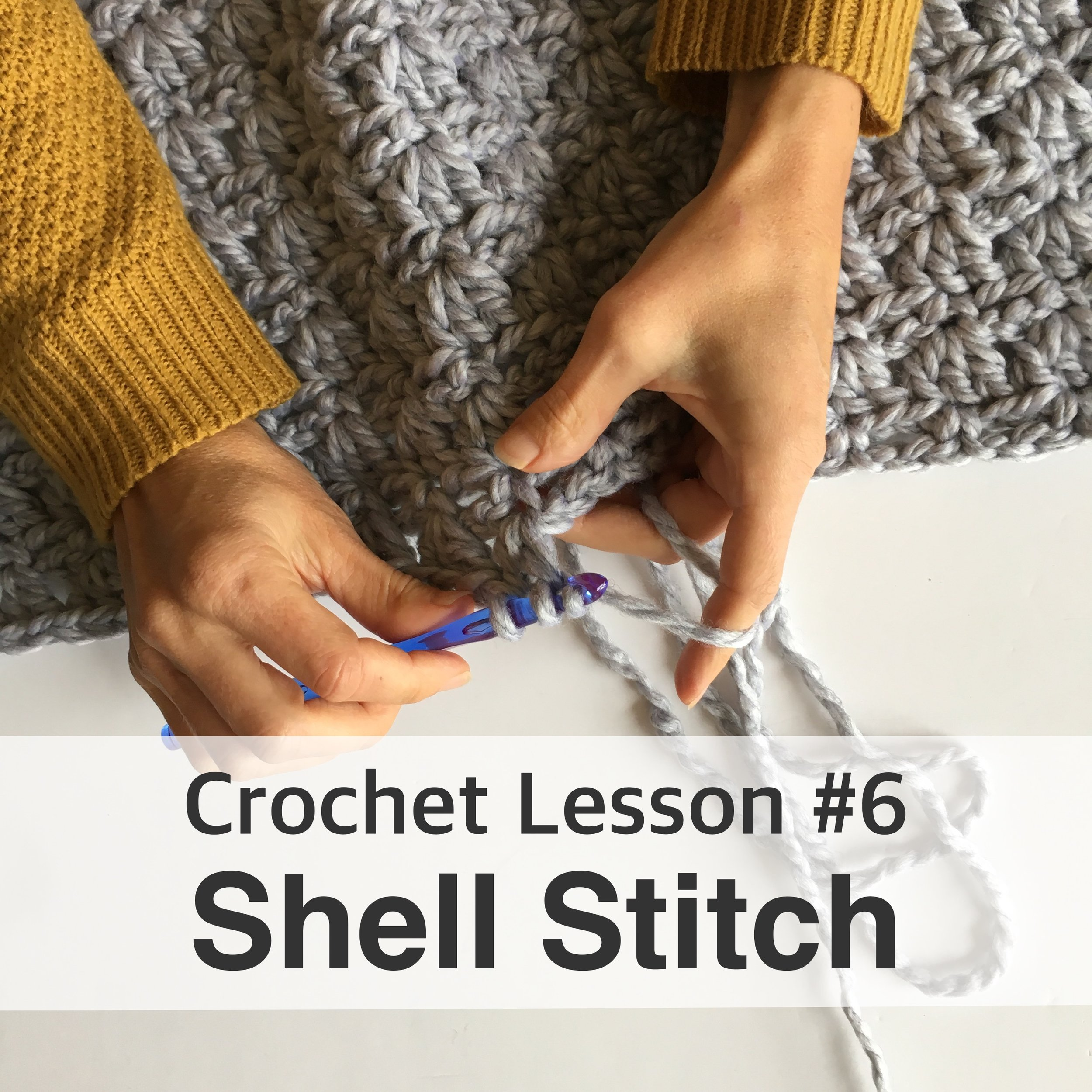 How to crochet a shell stitch. Blue Corduroy Crochet Lessons.