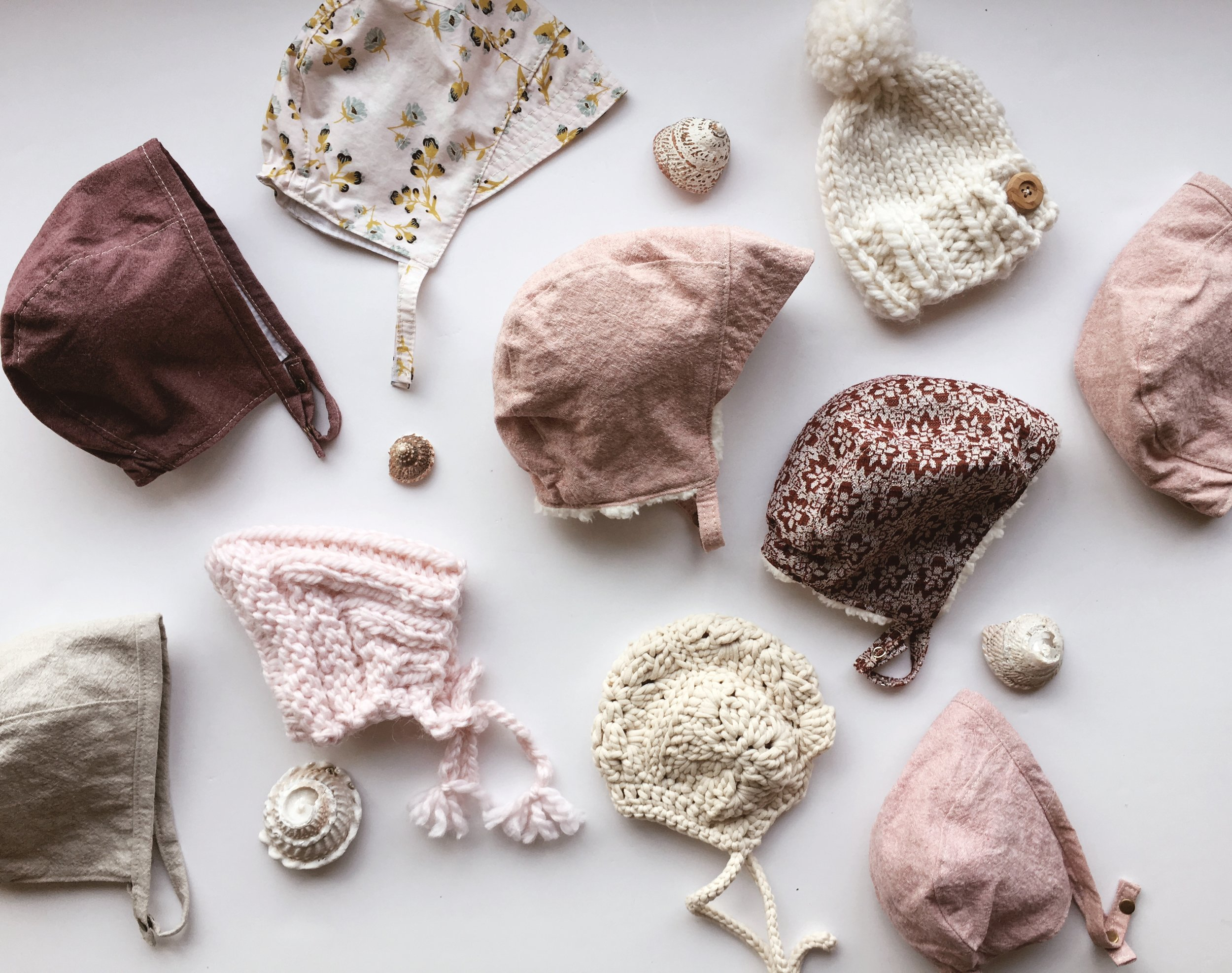 Pink Baby Bonnets handmade by Blue Corduroy