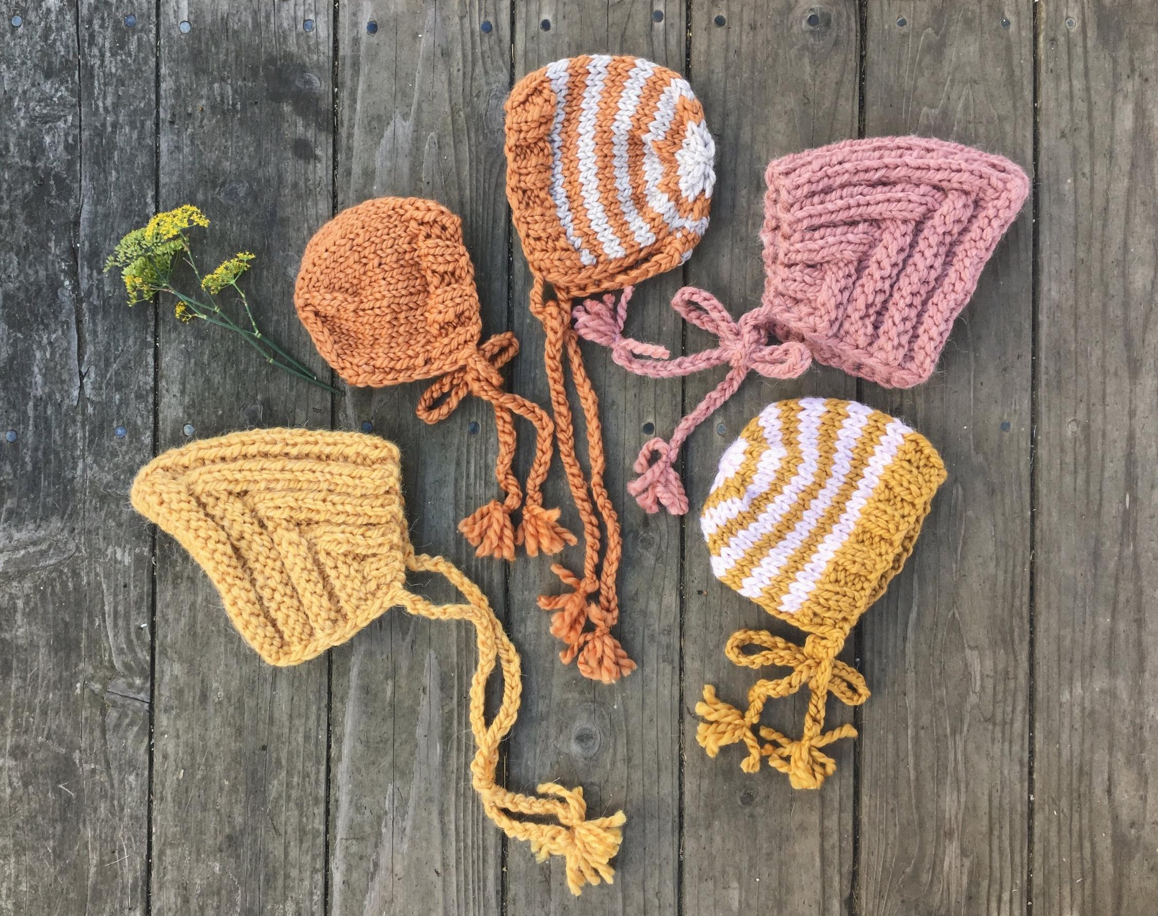 Knit Baby Bonnets by BlueCorduroy.etsy.com
