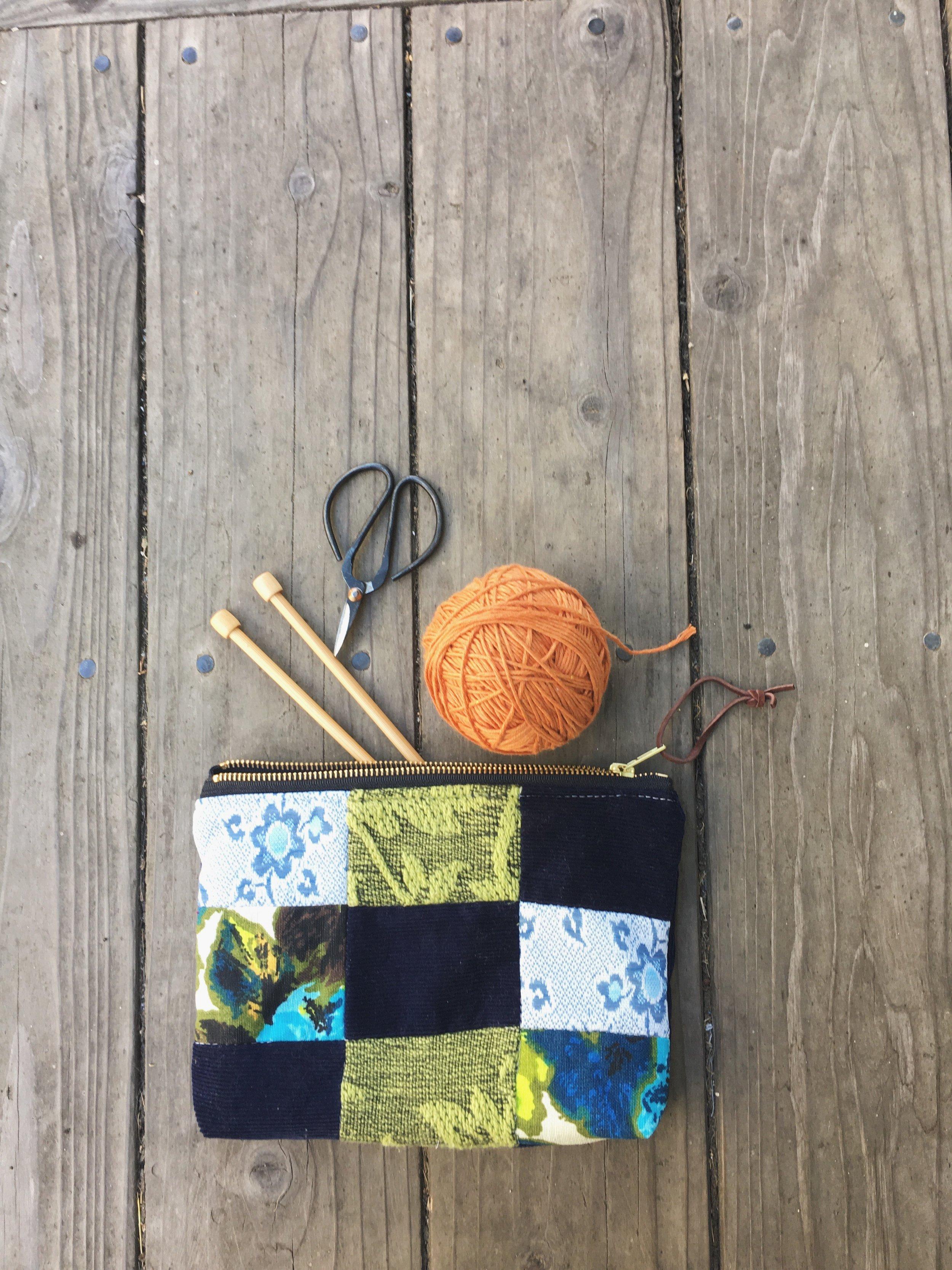 Blue Patchwork Zipper Bag by bluecorduroy.com