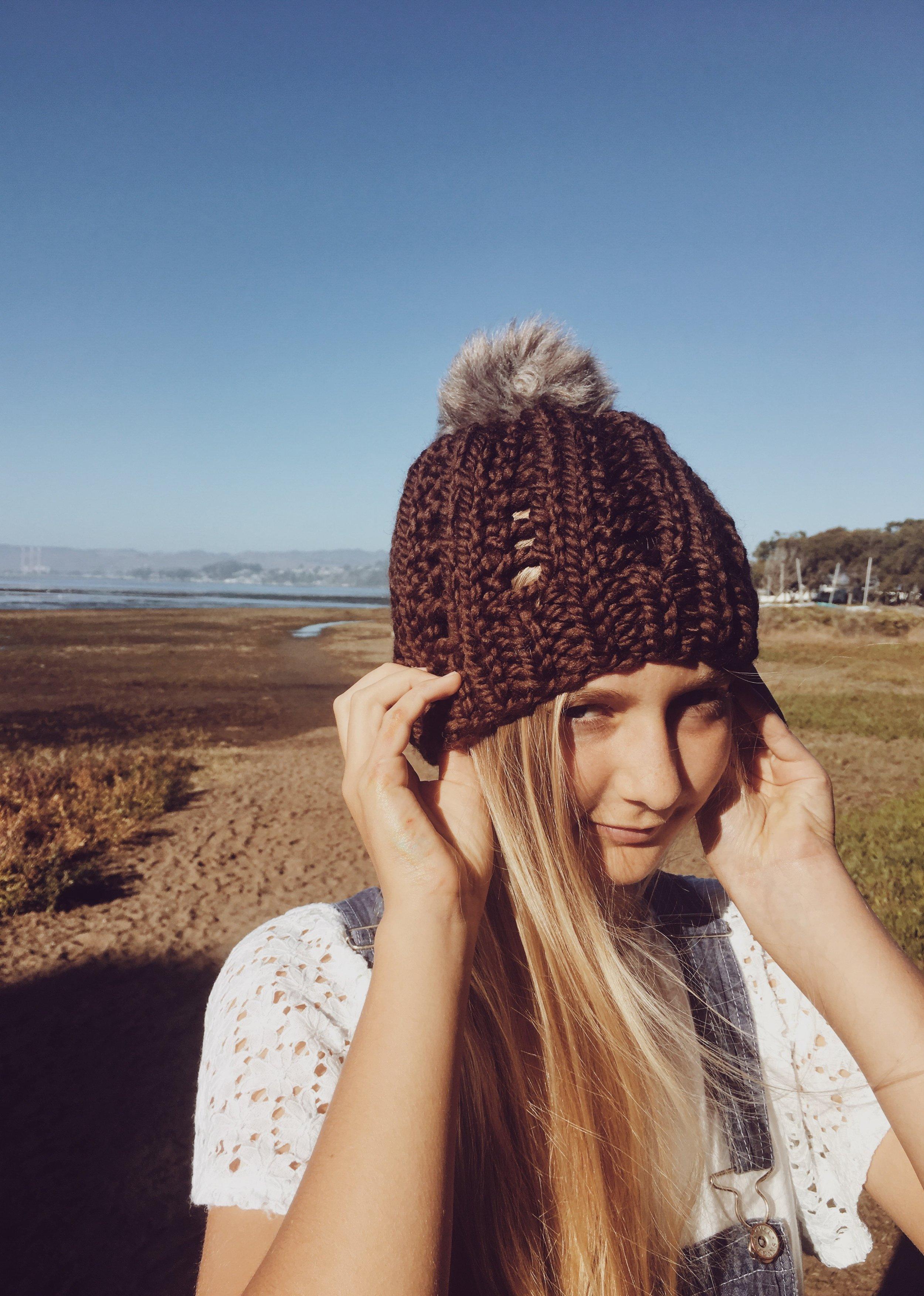 Brown Knit Beanie with Pom Pom