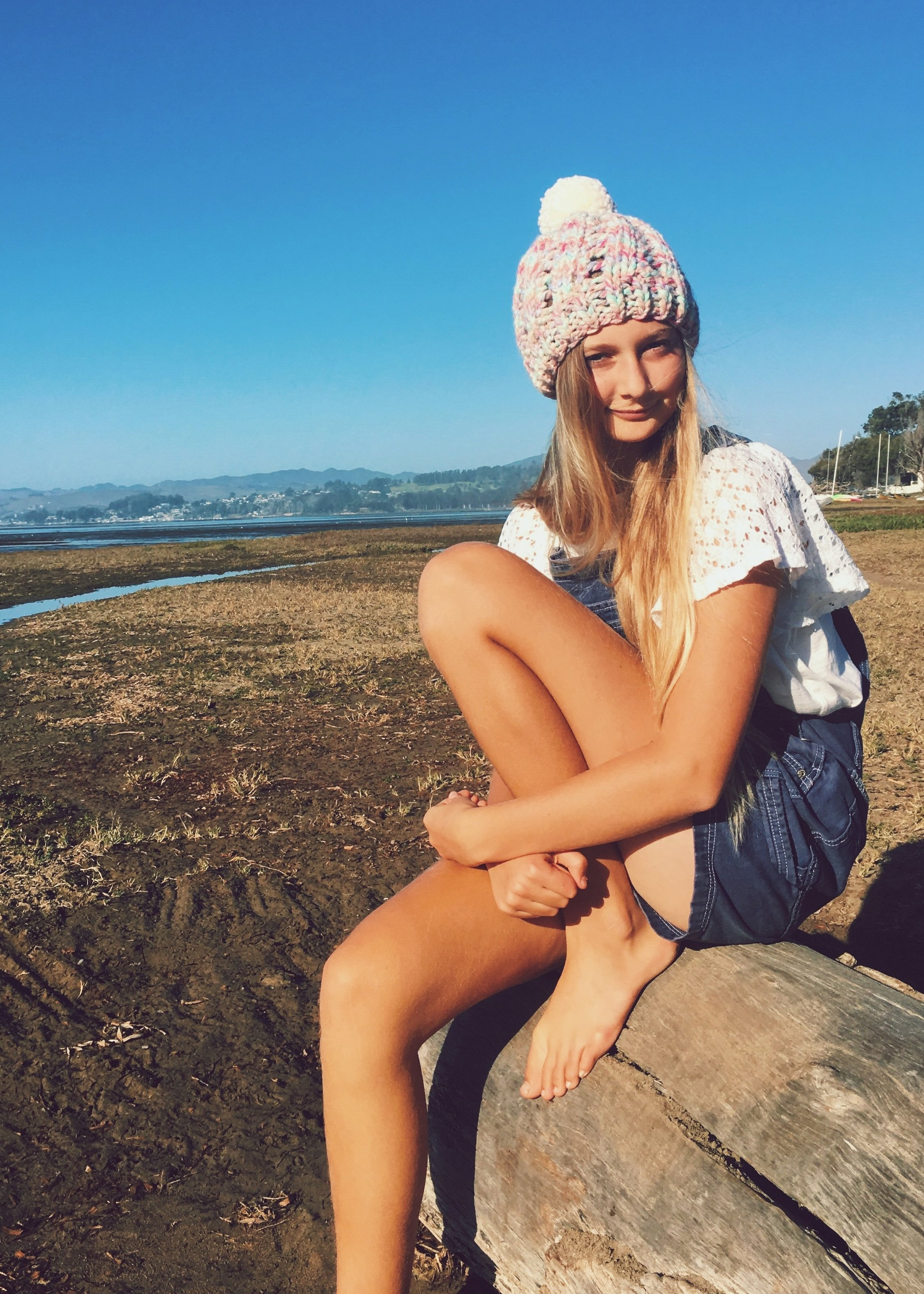 Beach Knit Beanie with Pom Pom