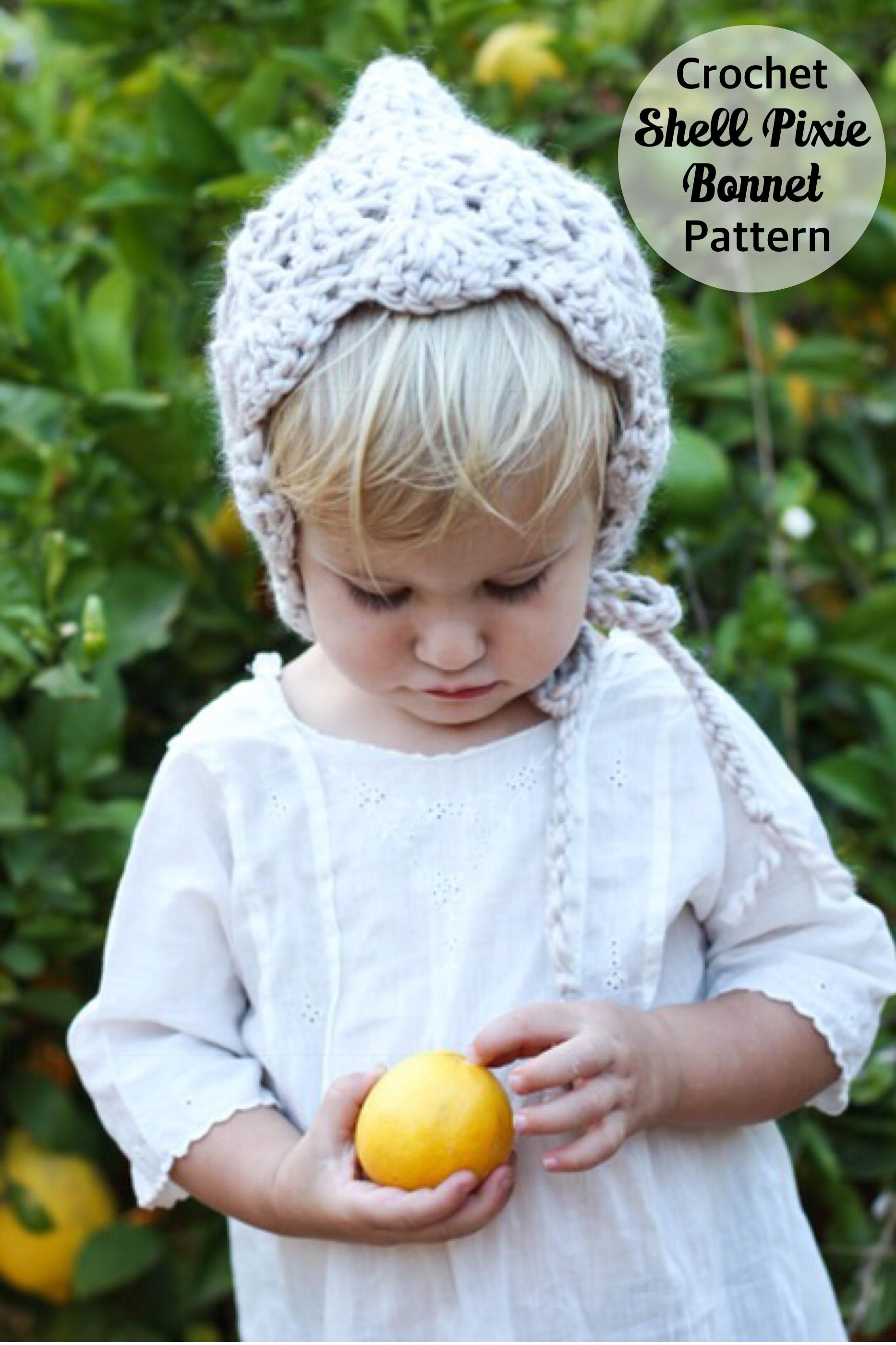 Pattern for Crochet Baby Pixie Bonnet