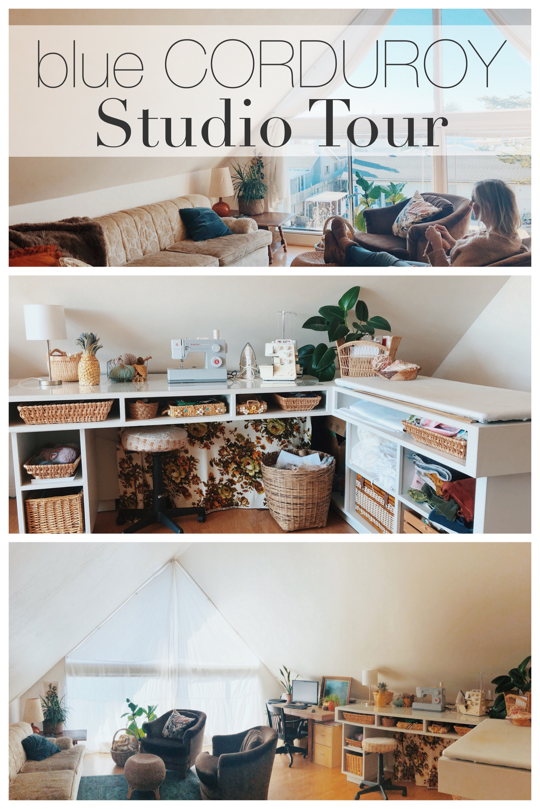 Take a tour of my upstairs studio! It's part living room and part sewing studio, and thankfully my family is okay with that!