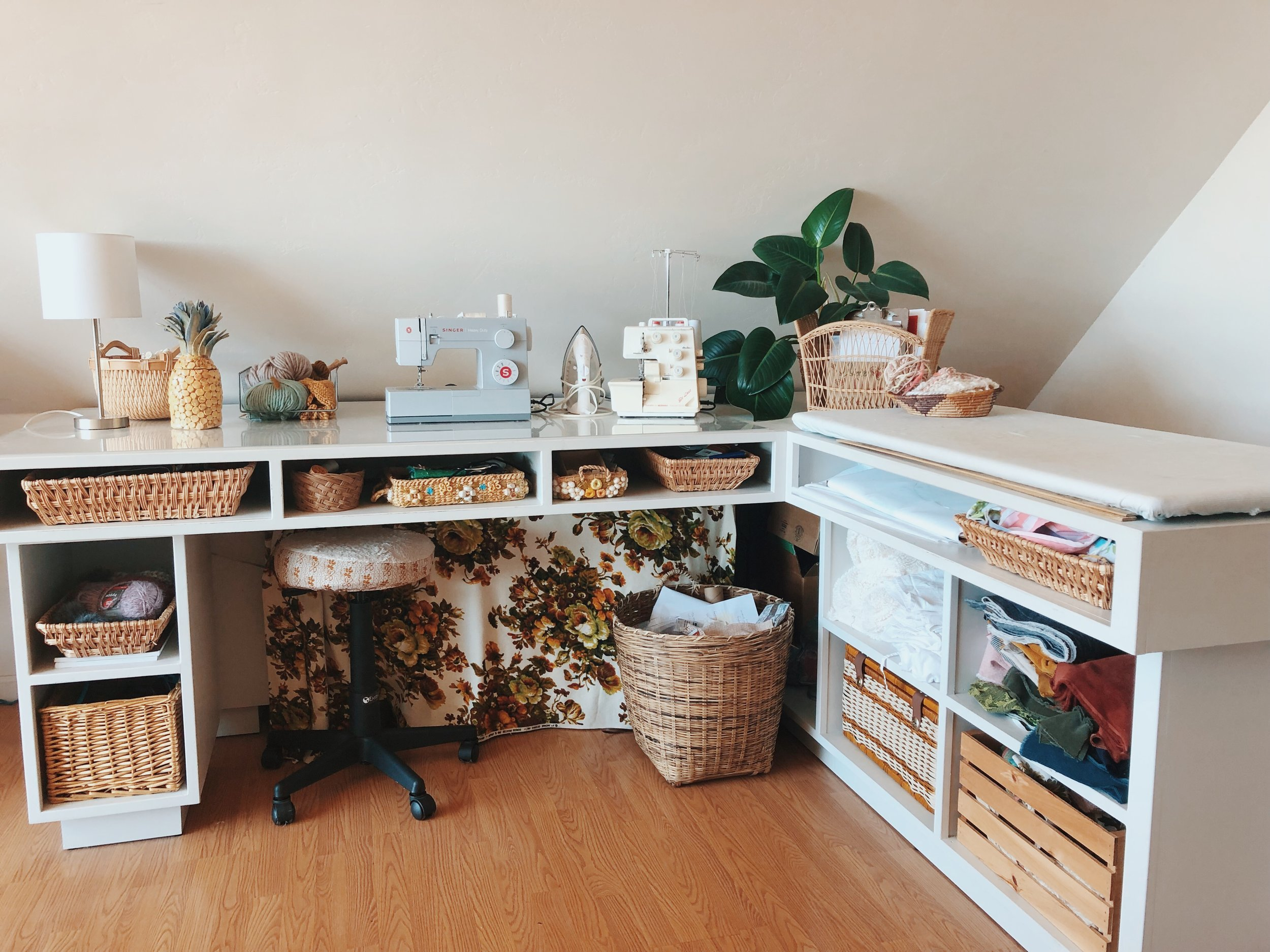 My husband built this custom sewing desk for me a few years ago. It fits all my fabric and supplies and also sits in the corner of my living space. Blue Corduroy studio tour.