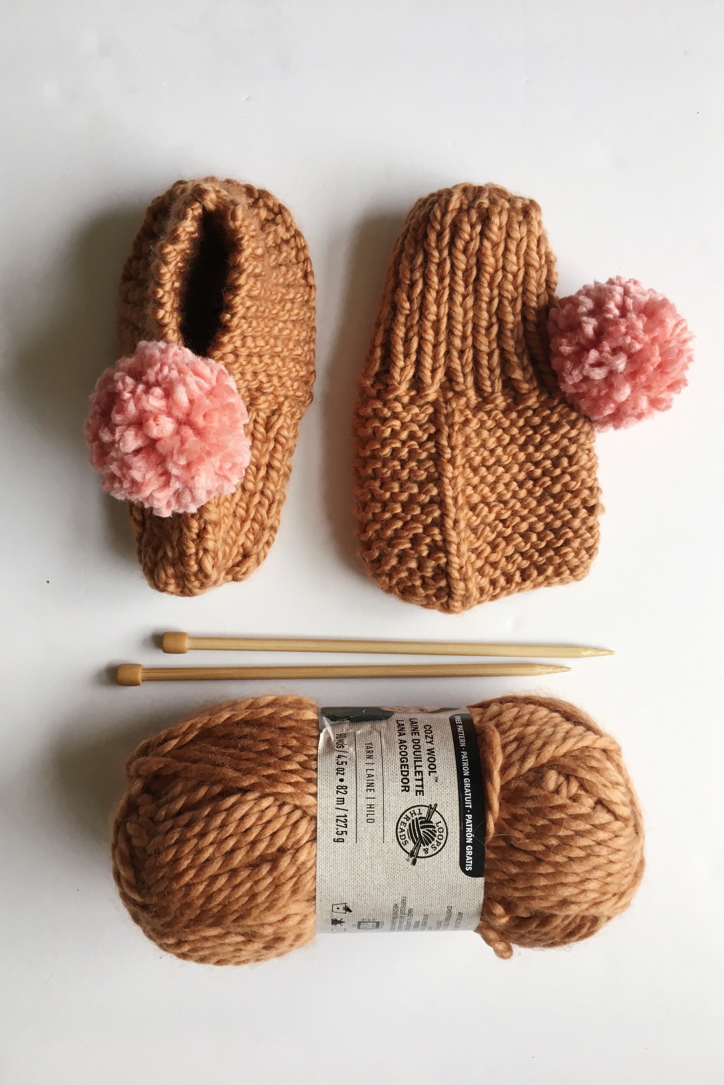 Materials you will need for the knit slippers