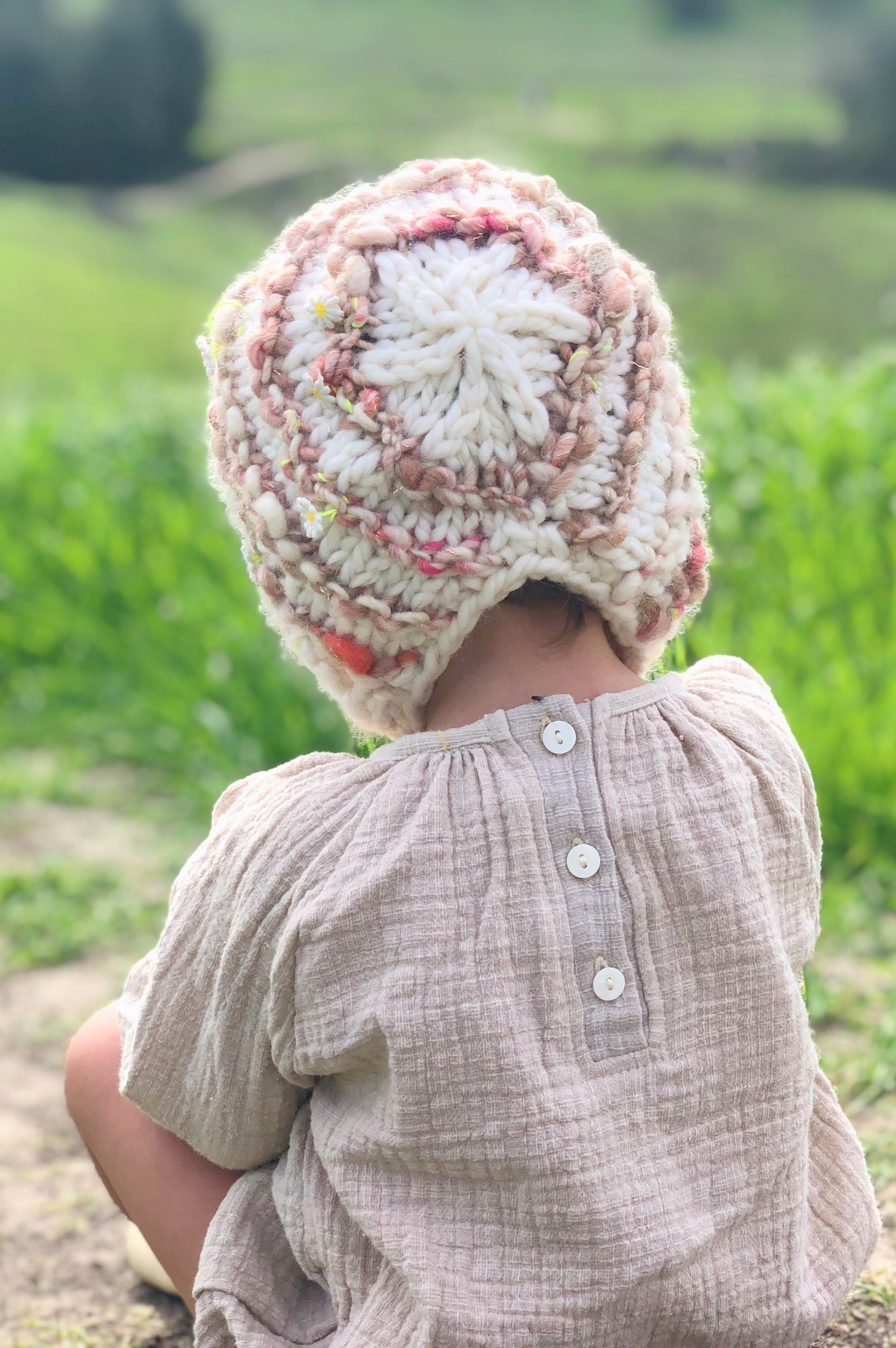 Pink Striped Baby Bonnet for a cozy Valentines Day by  BlueCorduroy