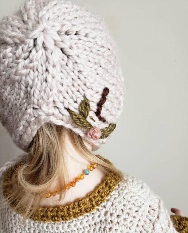 Knit Bonnet with your baby's initials and a crochet sweater makes a great outfit inspiration for your baby or toddler.