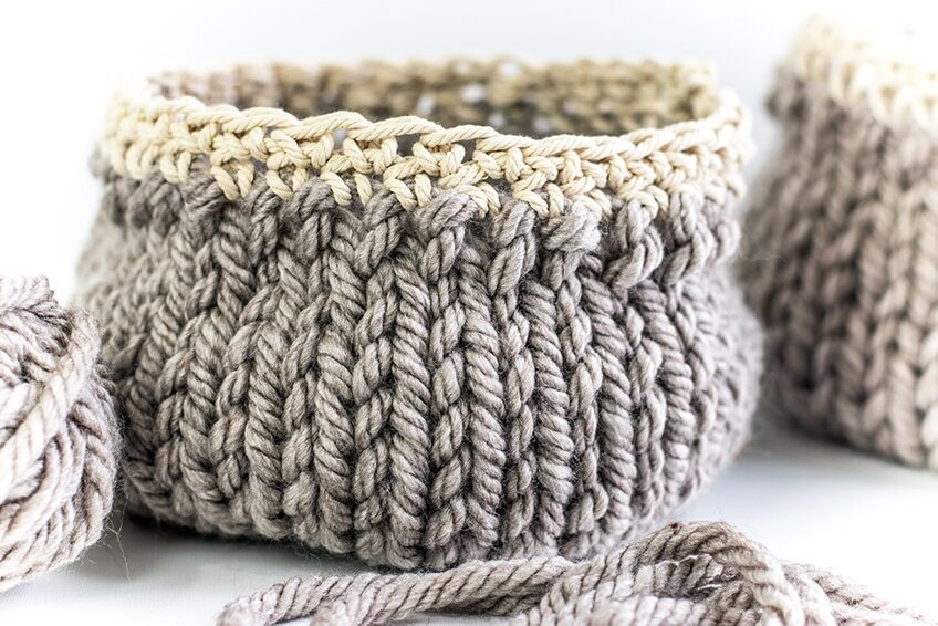 free knit pattern for basket