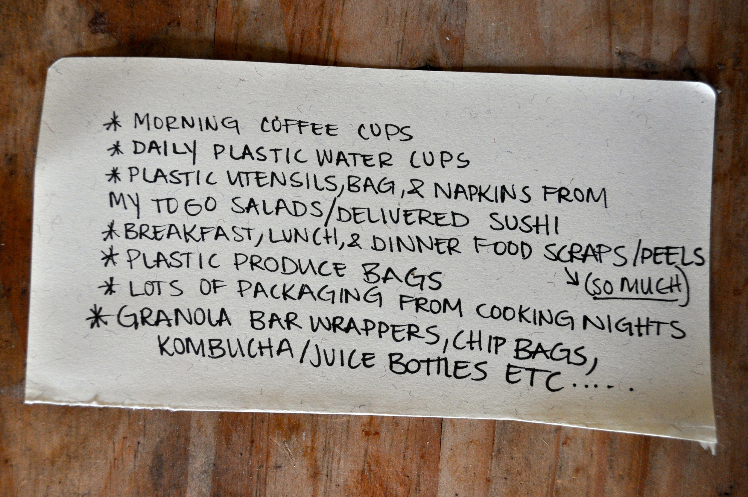 This was from a corner scrap paper in my art bin. This list was to document what I was wasting in a general day.