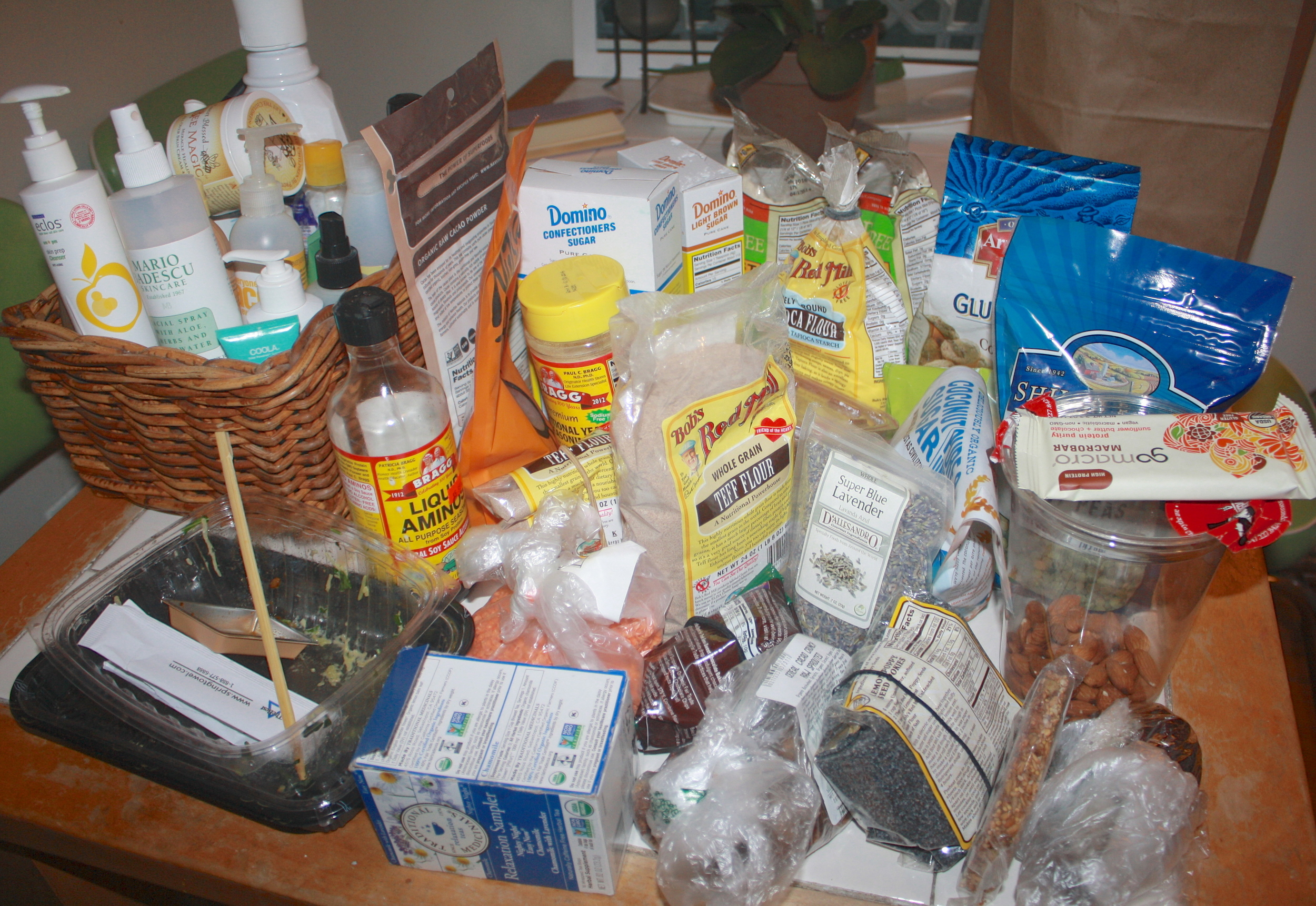 I took this picture because I was blown away at my over consuming habits, and these items are just not necessary to buy in all the plastic packaging. This was mostly baking goods I stocked up on every couple weeks! The basket to the left is just a bunch of beauty products that kept piling.