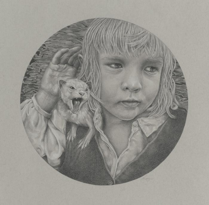 """Familiar Hiss , graphite on paper, 12 x 12"""""""