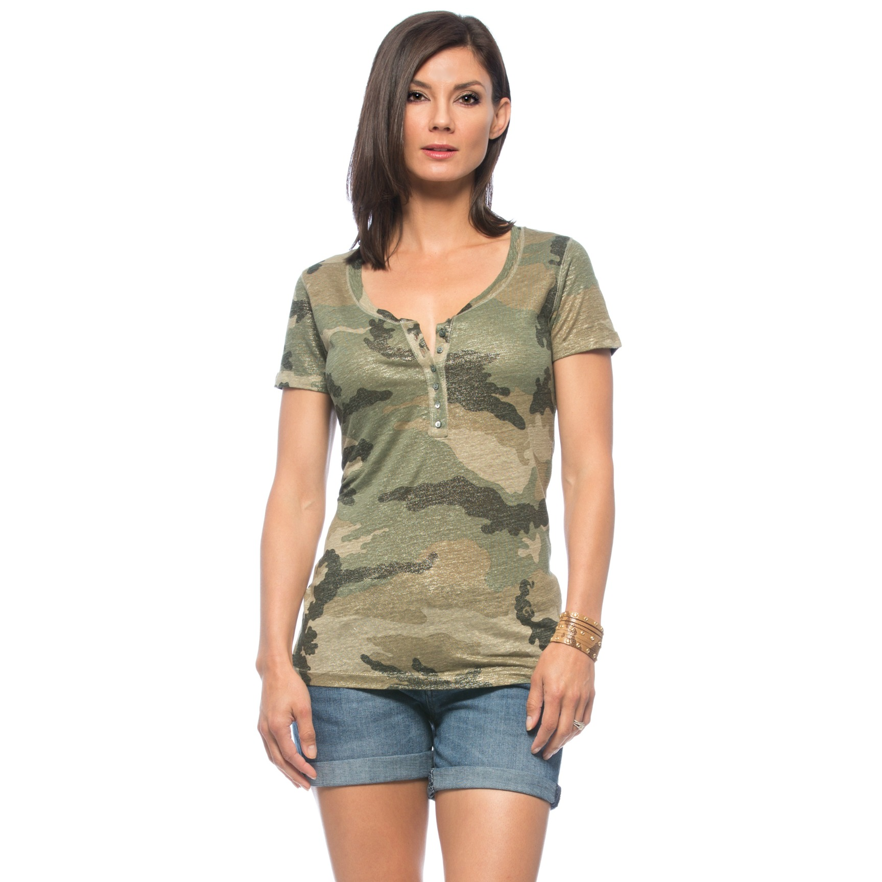 Girls can do camo, too! Cut Henley style, this  camo top  has all the right masculine qualities to make it desirable to us, with a metallic finish and slim fit to make it desirable ON us!
