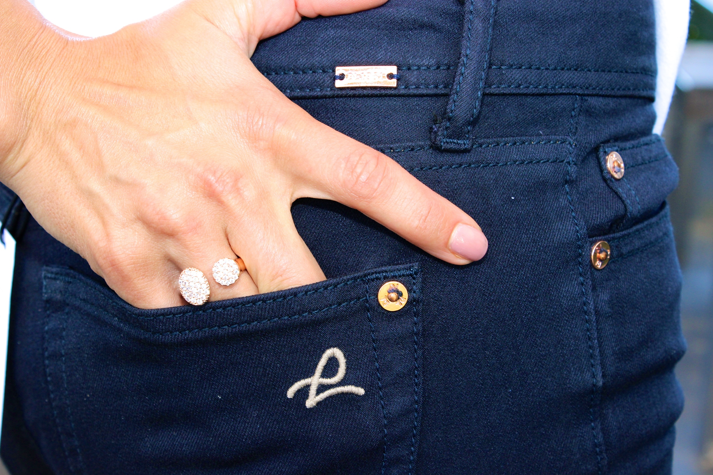 Our DL1961 denim in navy is perfection with rose gold hardware.  Ring and denim from LIBERTÉ (in store only).