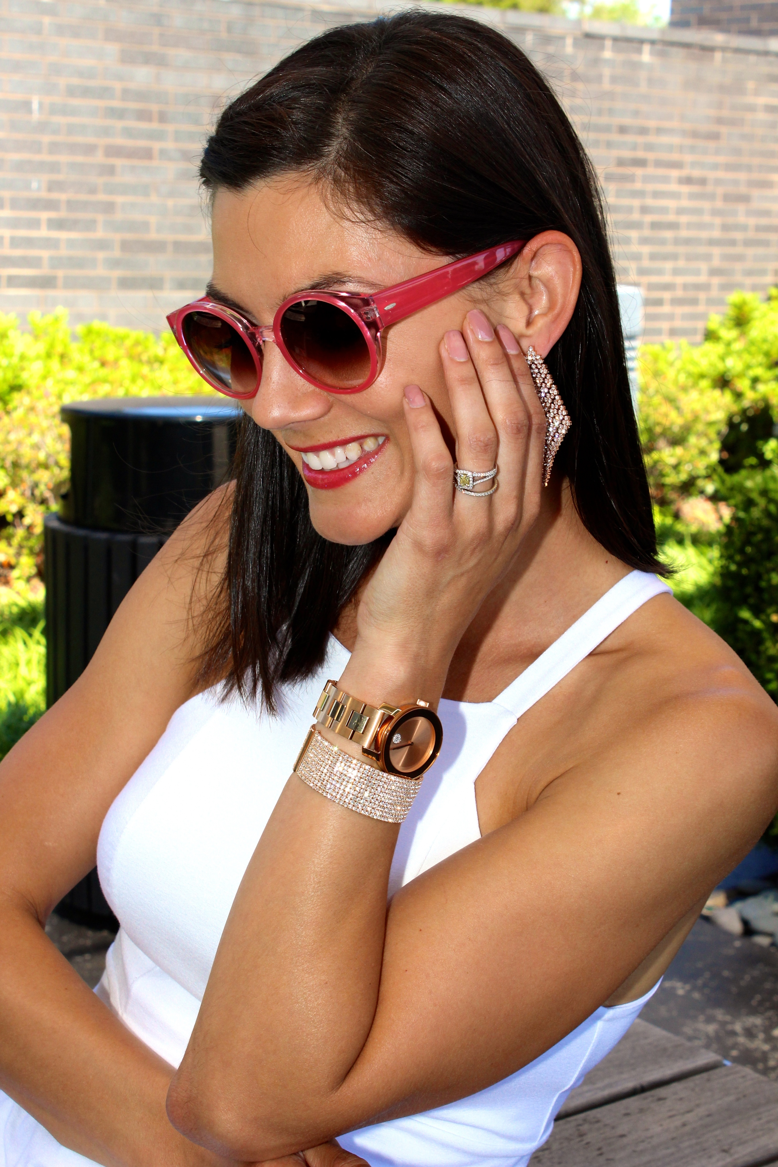 We made the look a little glam with some rose gold accessories!  Jewelry from LIBERTÉ (in store only).  Sunglasses from  Black Optical .   Movado BOLD watch .