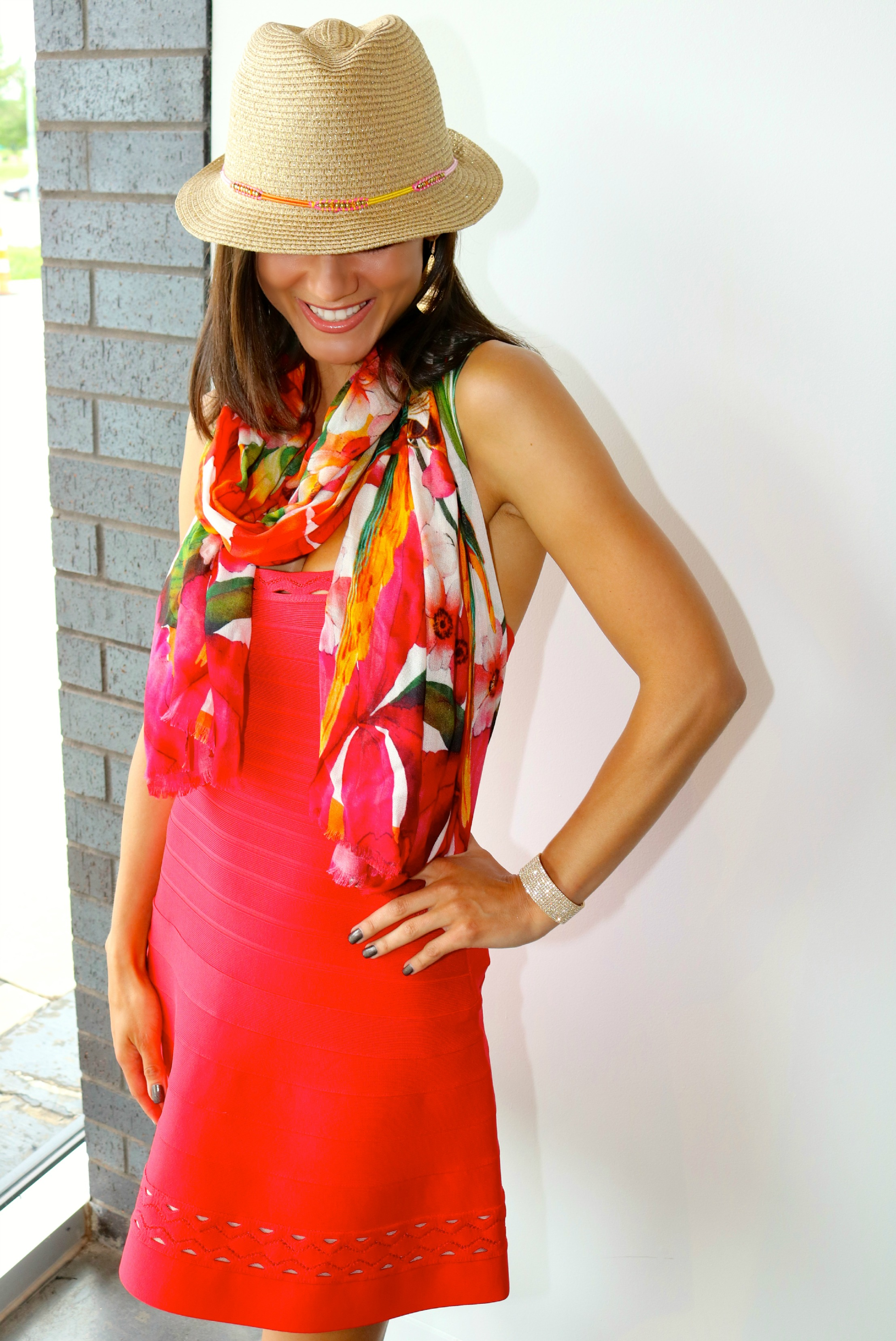 Herve Leger  dress and  Ted Baker  scarf are available at LIBERTÉ (in-store only).  Lilly Pulitzer  hat.