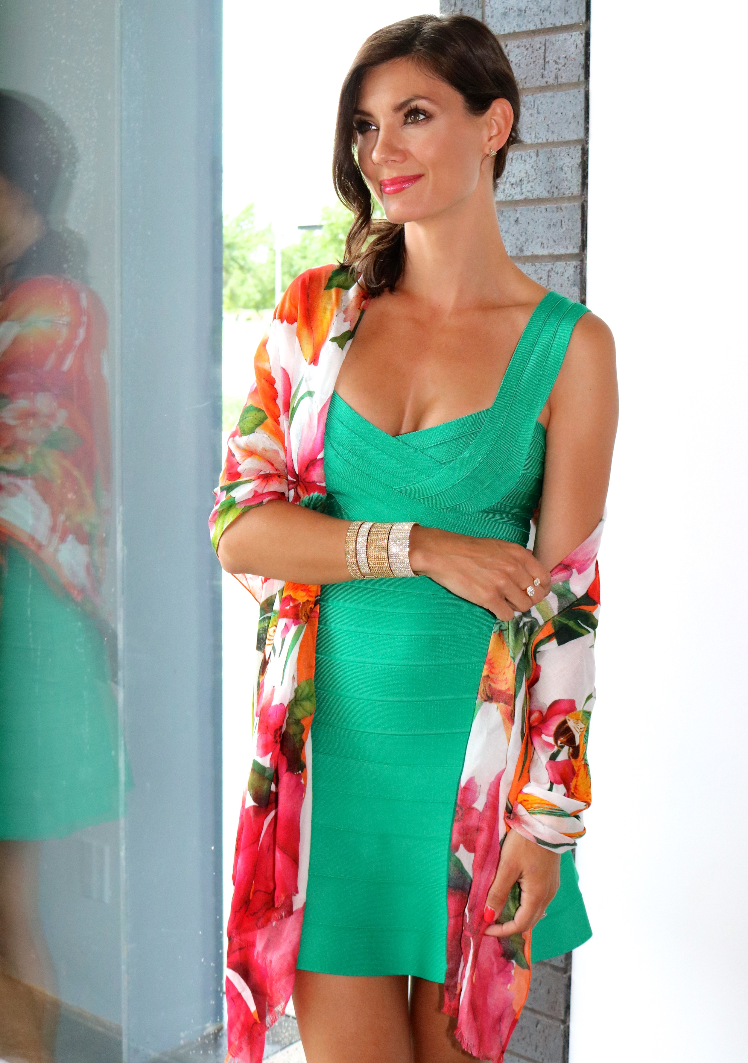 Hervé Dress in Green Opal   & Ted Baker Toucan ScarfAvailableIn Store Only