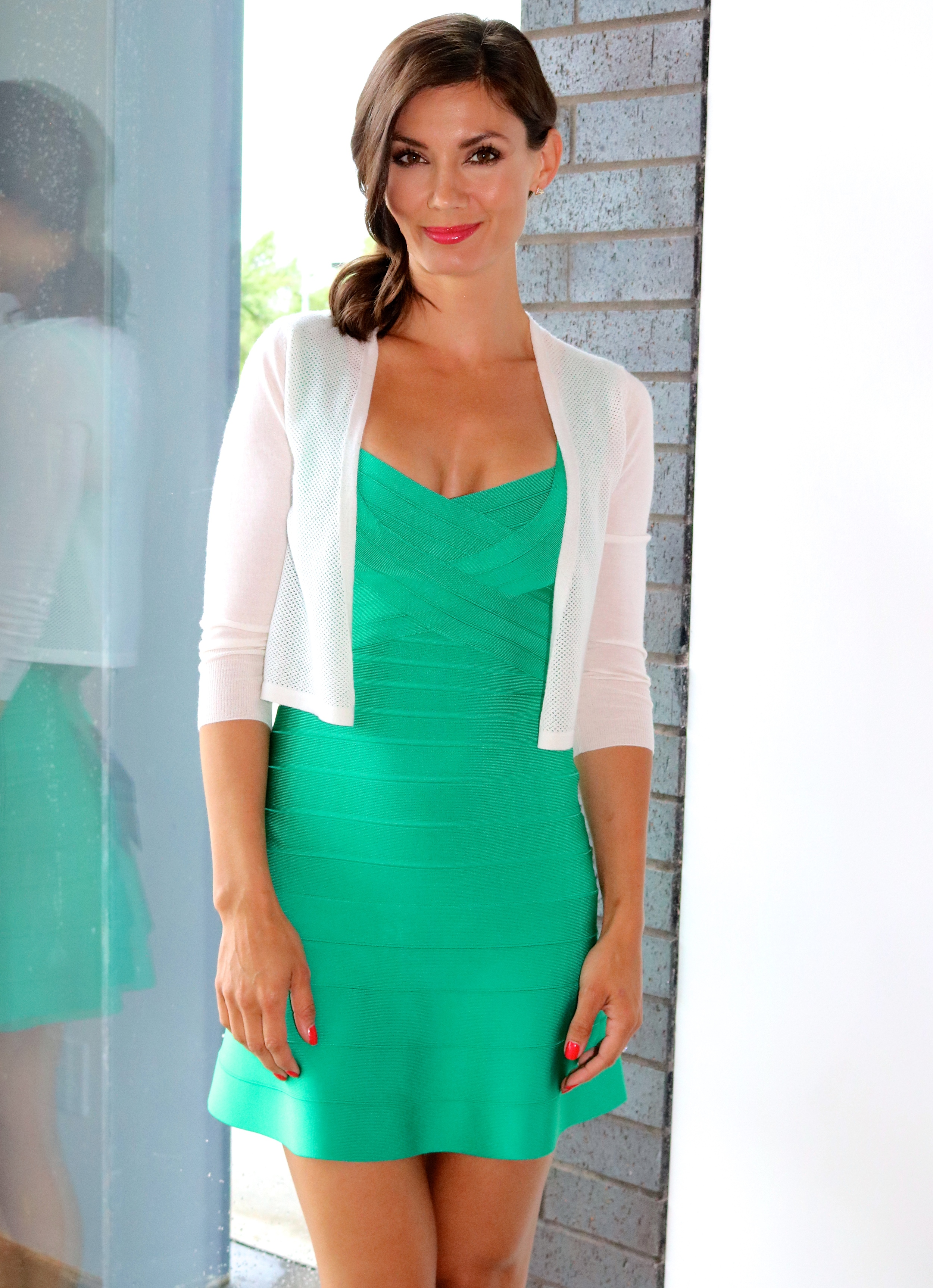 Hervé Dress in Green Opal Available In Store Only.  Christopher Fischer  Lace Stitch Cardigan  Available Online