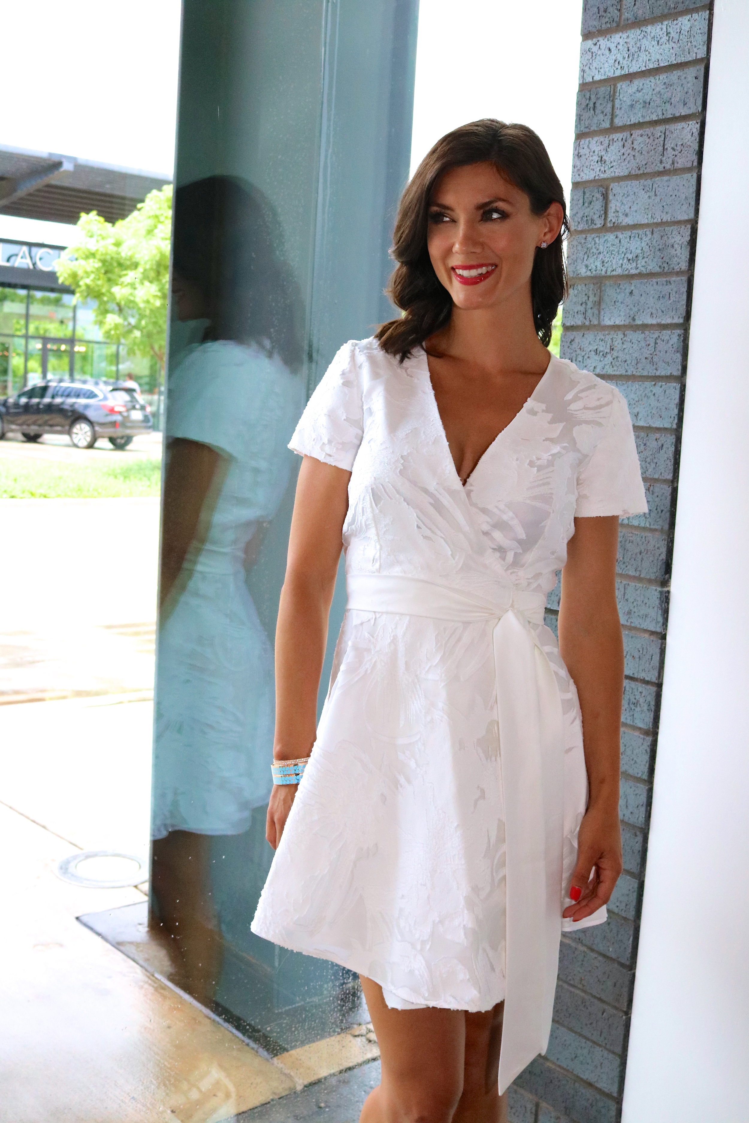 Waldrop  wrap dress in white, available in store only