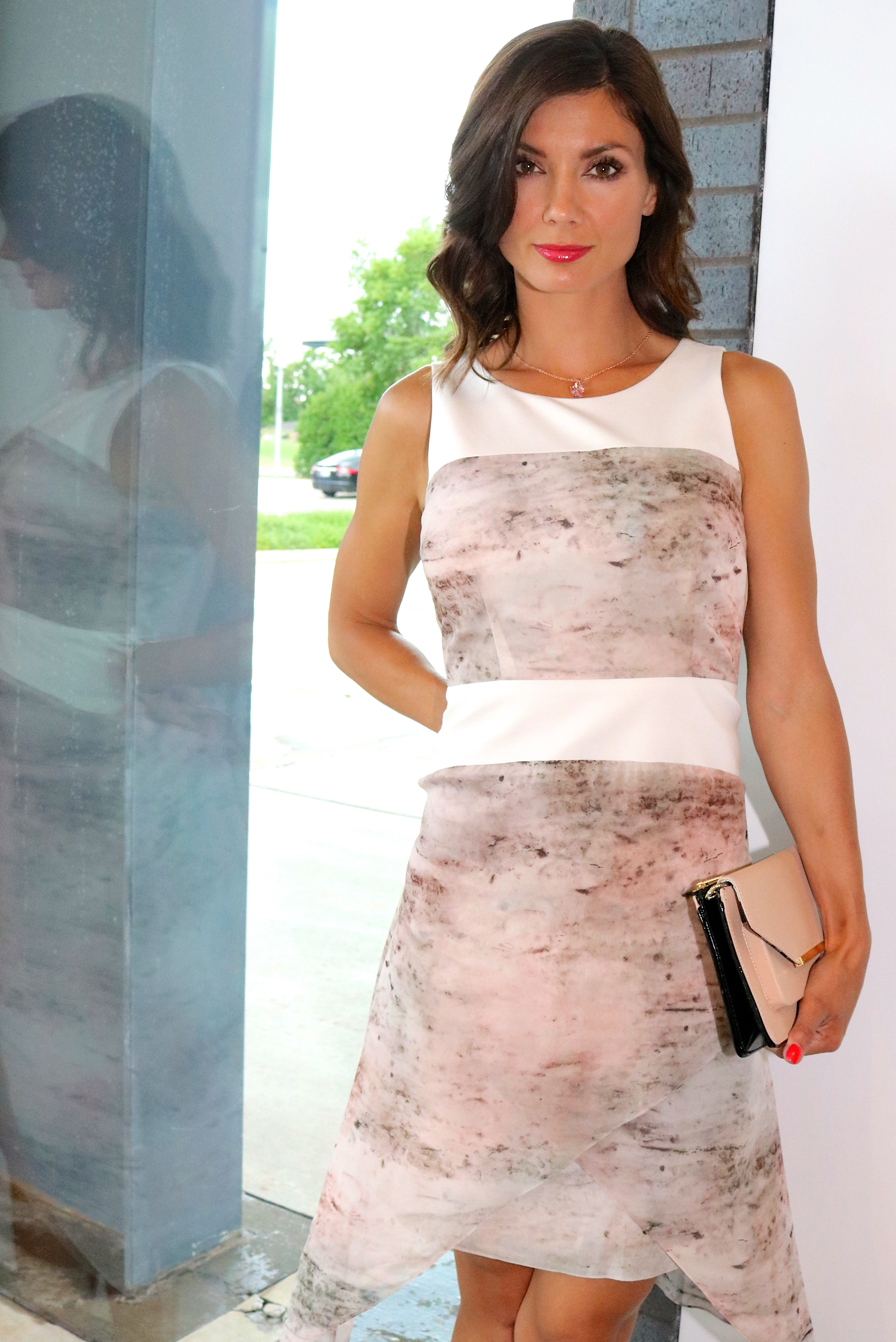 Staci Snider  dress and Ted Baker clutch (clutch is on sale!!) available in-store only.