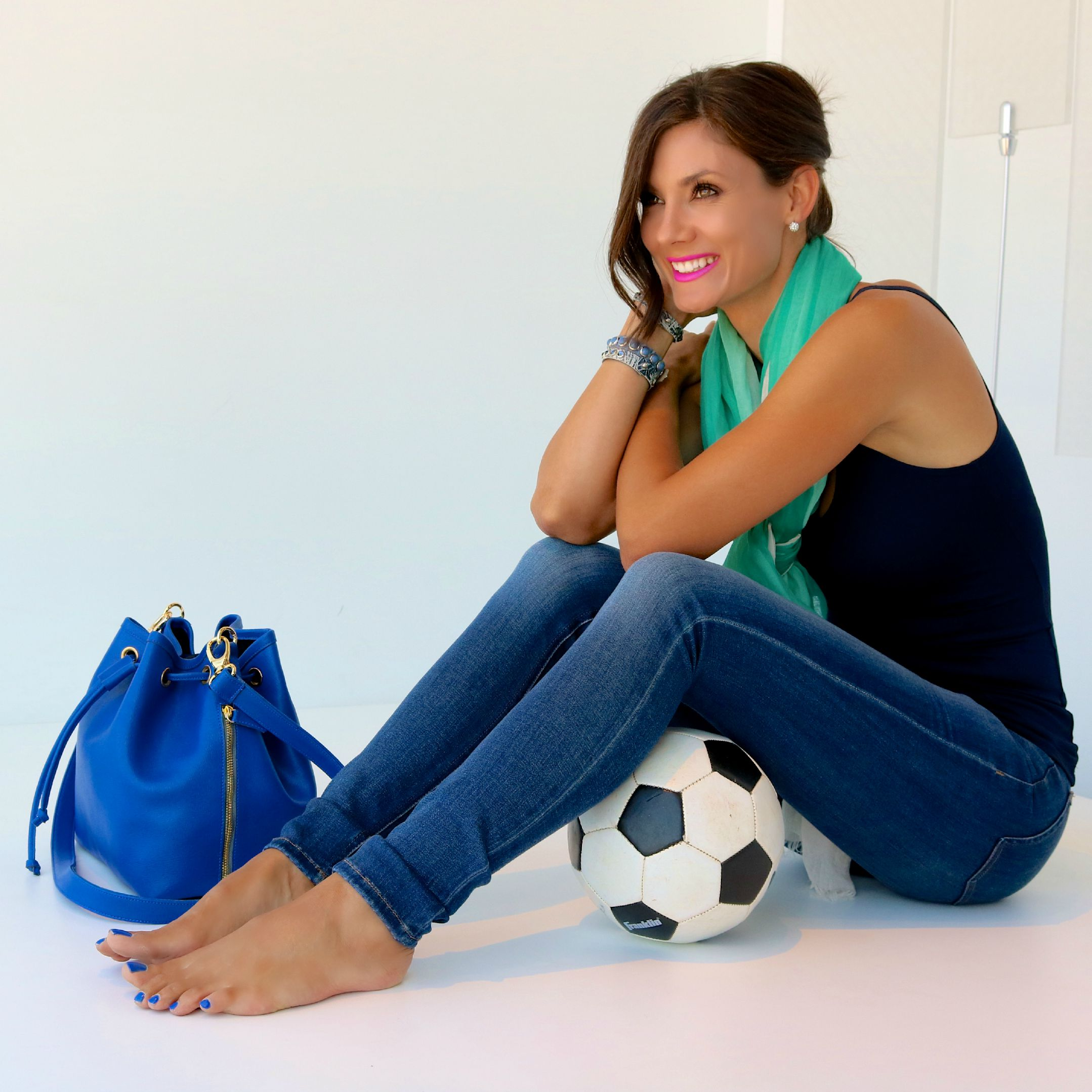 DL1961 Florence Jeans in Prinia Available In Store & Online.Christopher Fischer Cashmere Scarf in Mint, Only Hearts Delicious Skinny Tank in Navy, Laggo Bucket Bag in Cobalt-Available In Store