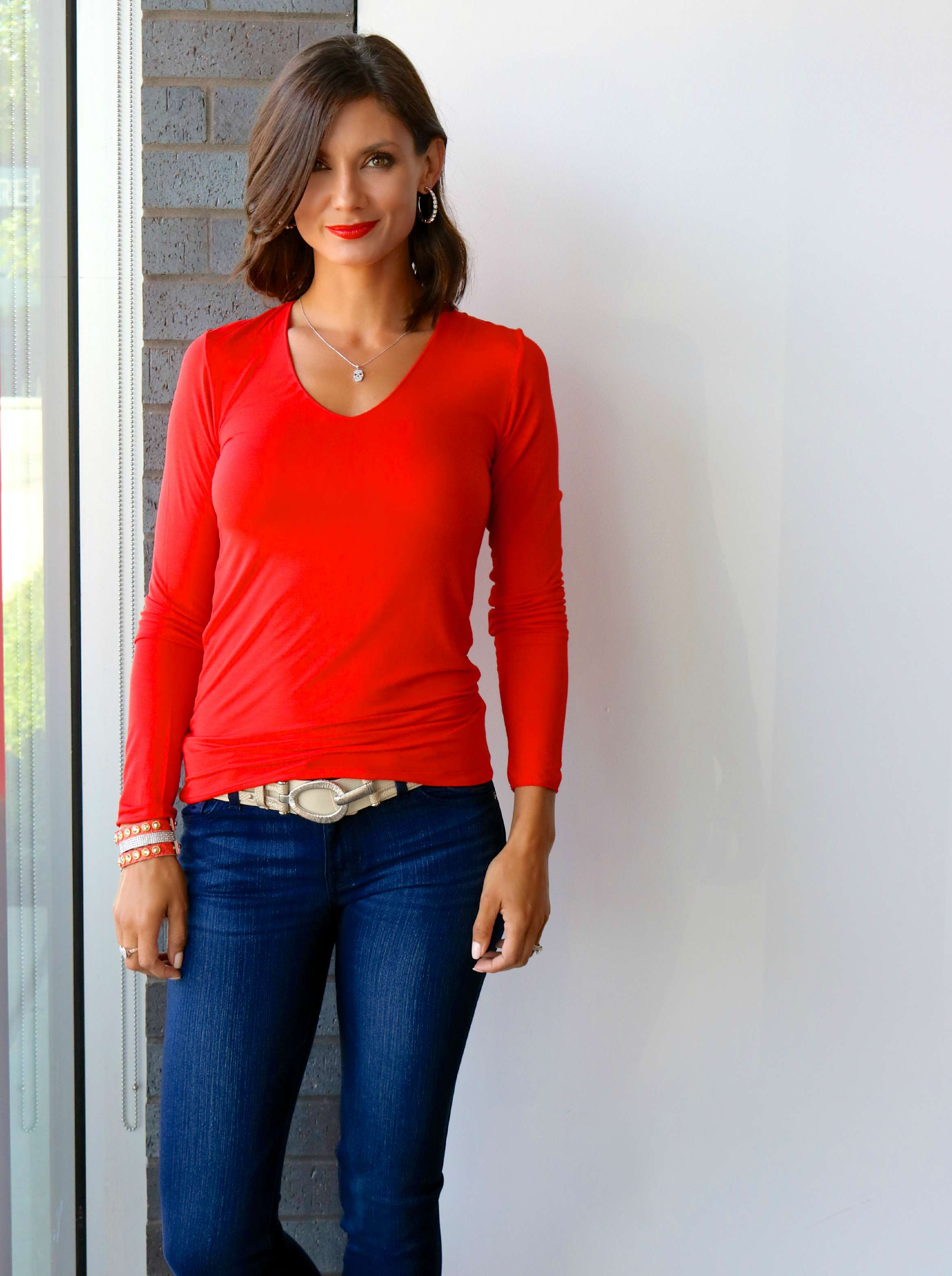 Majestic V-Neck Long Sleeve Tee in Flame , DL1961 Nicky jeans in Wooster