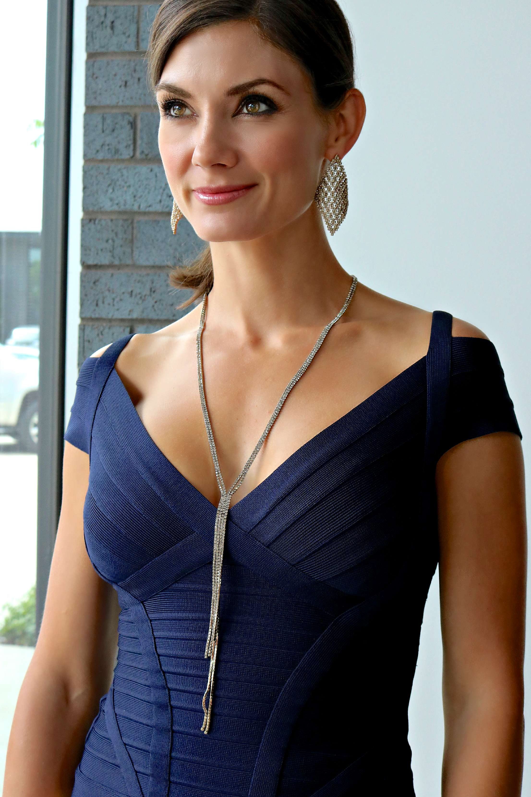 """Herve Lever Lenore Essential Top , Diamond Shaped Chandelier Earring ,""""Y"""" Necklace"""