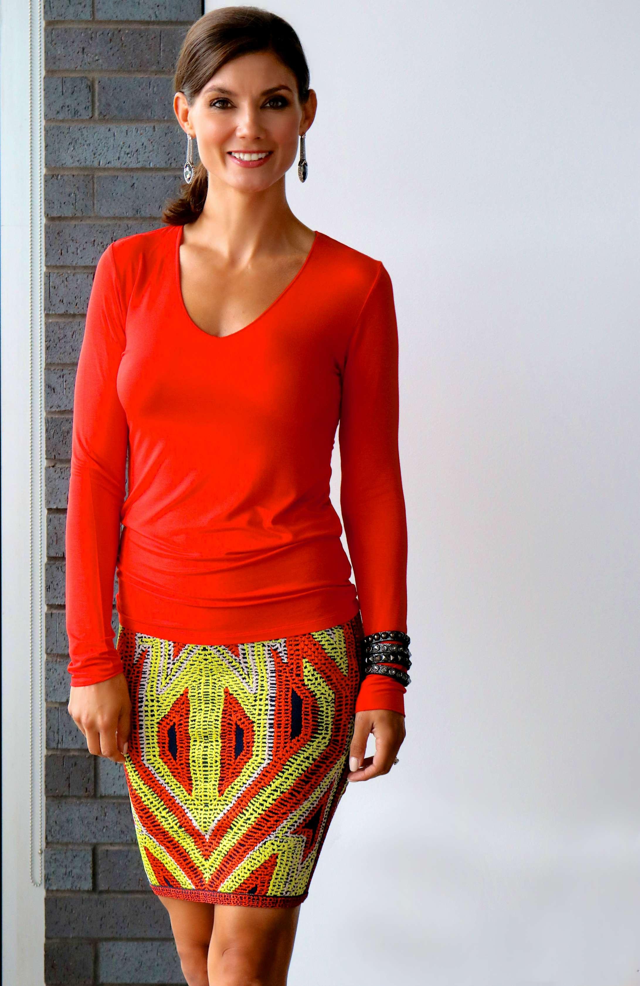 Majestic Filatures V Neck Long Sleeve Top , Herve Leger Ola Jacquard Skirt ,  Chain Drop Earrings