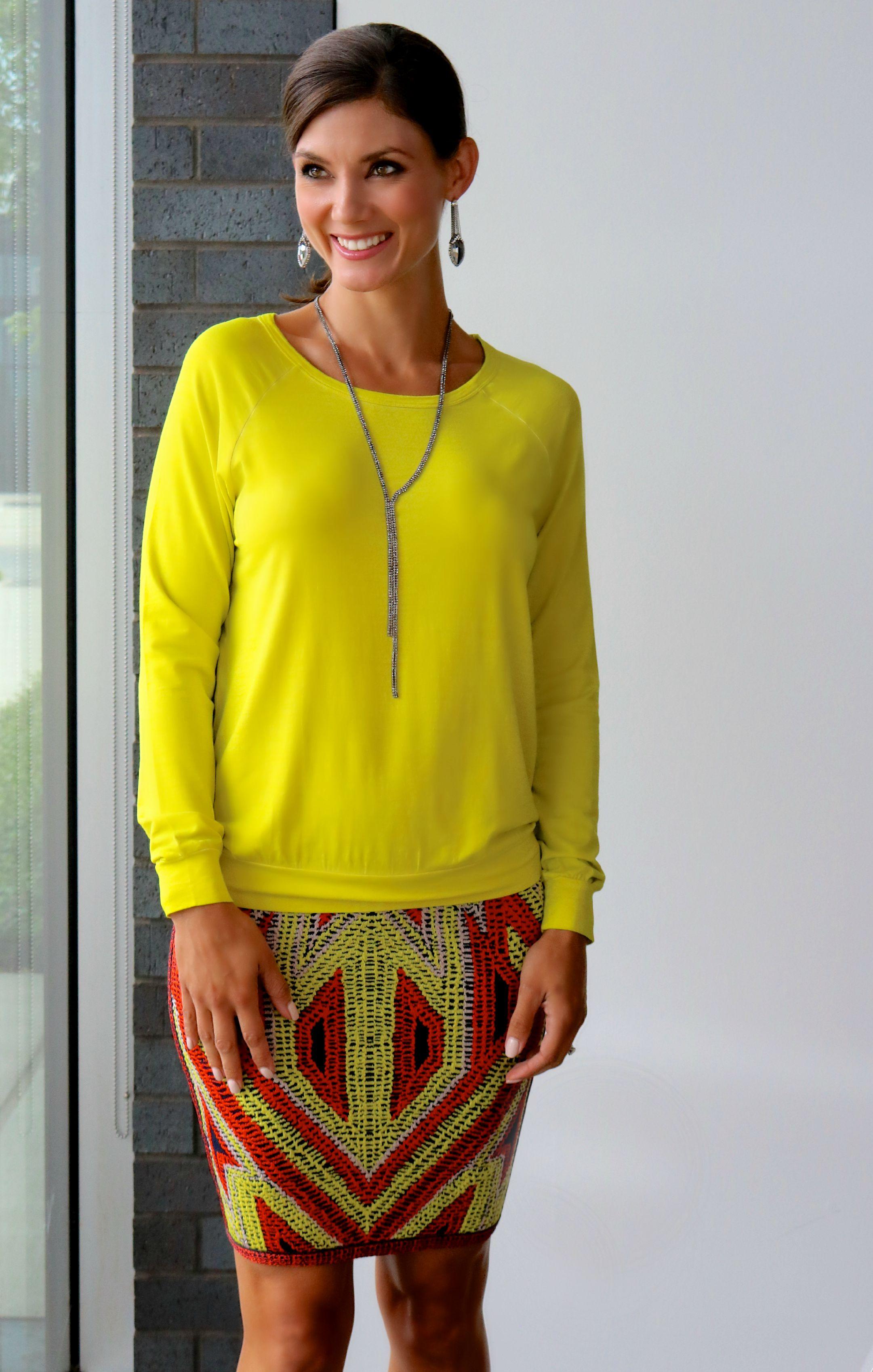 Majestic Filatures Hand Dyed Silk Raglan , Herve Leger Ola Jacquard Skirt ,  Chain Drop Earrings
