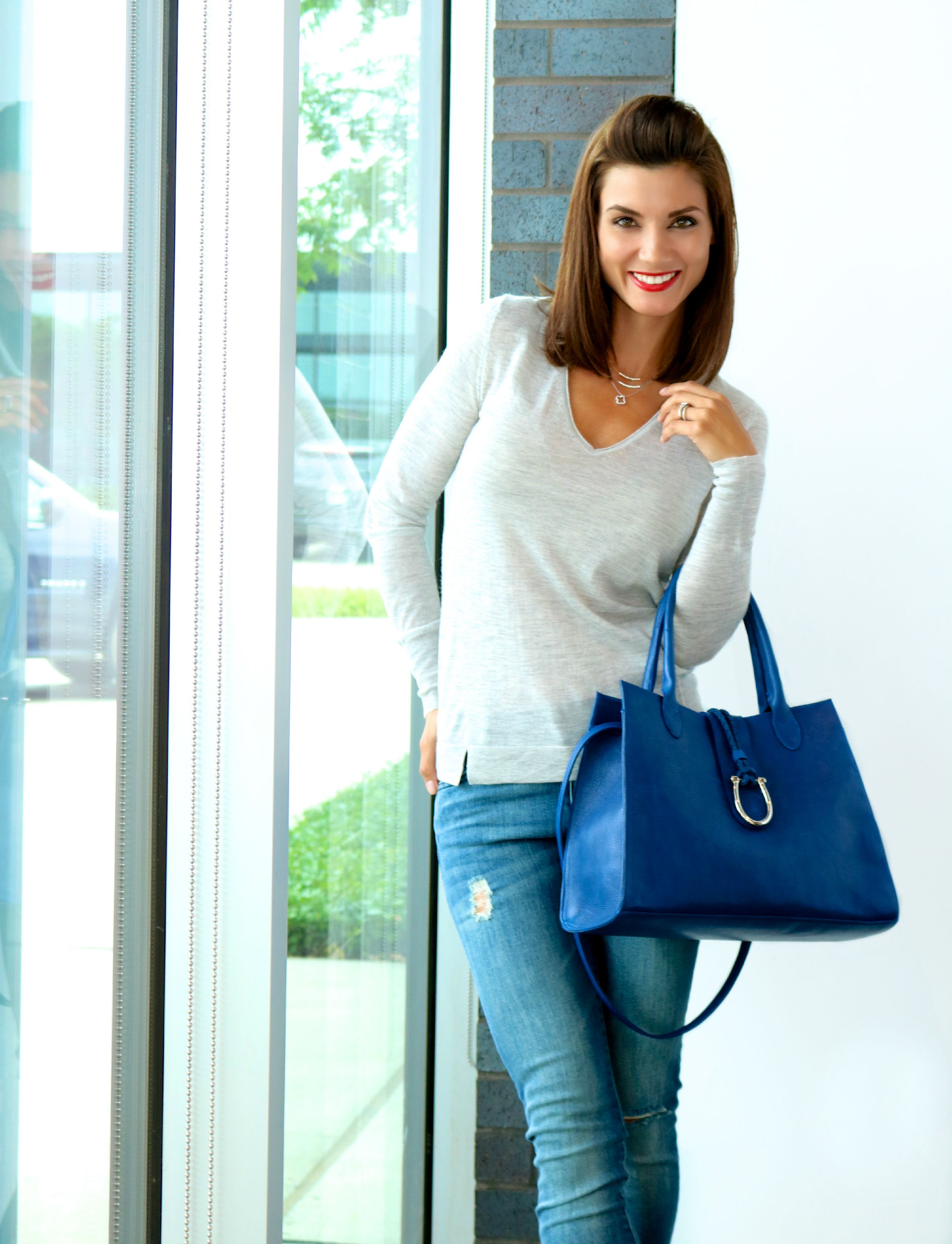 Christopher Fischer ANNABEL V-Neck Cashmere Sweater  and DL 1961 Florence Jeans
