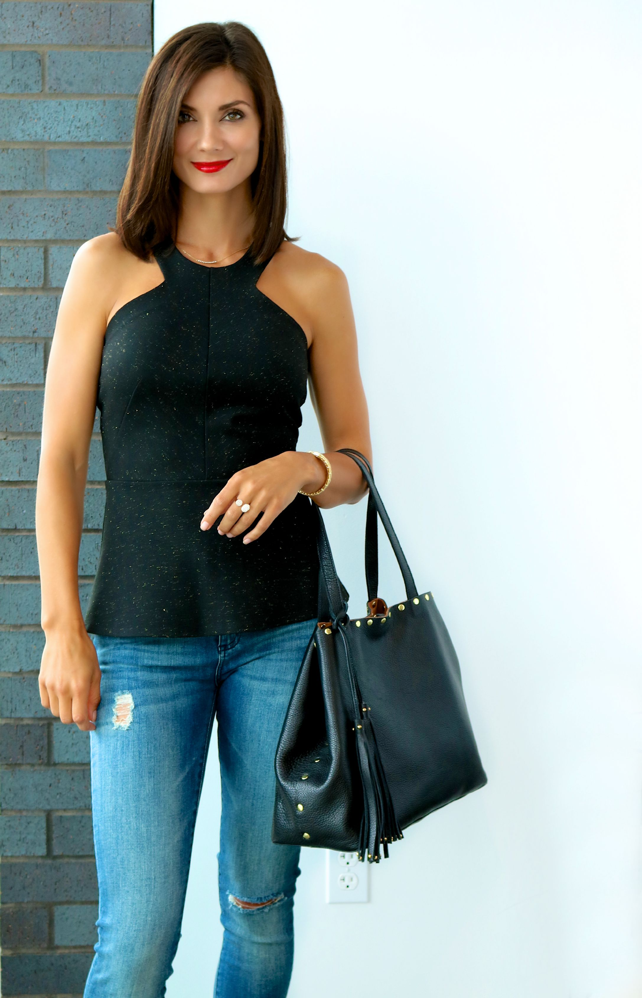 AMMARA Ponte Peplum in Black Available In Store Only - Hurry! One Left! LAGGO Leather Bag In Store Only